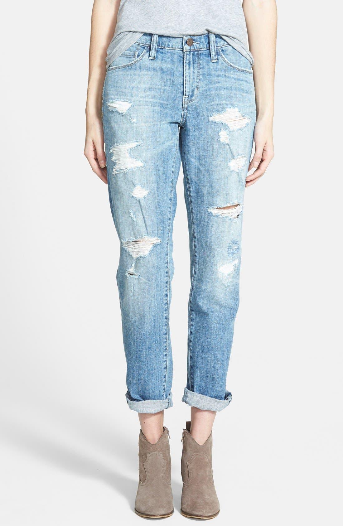 Alternate Image 1 Selected - Treasure&Bond Destructed Boyfriend Jeans (Blue Jay Light Rip & Repair)