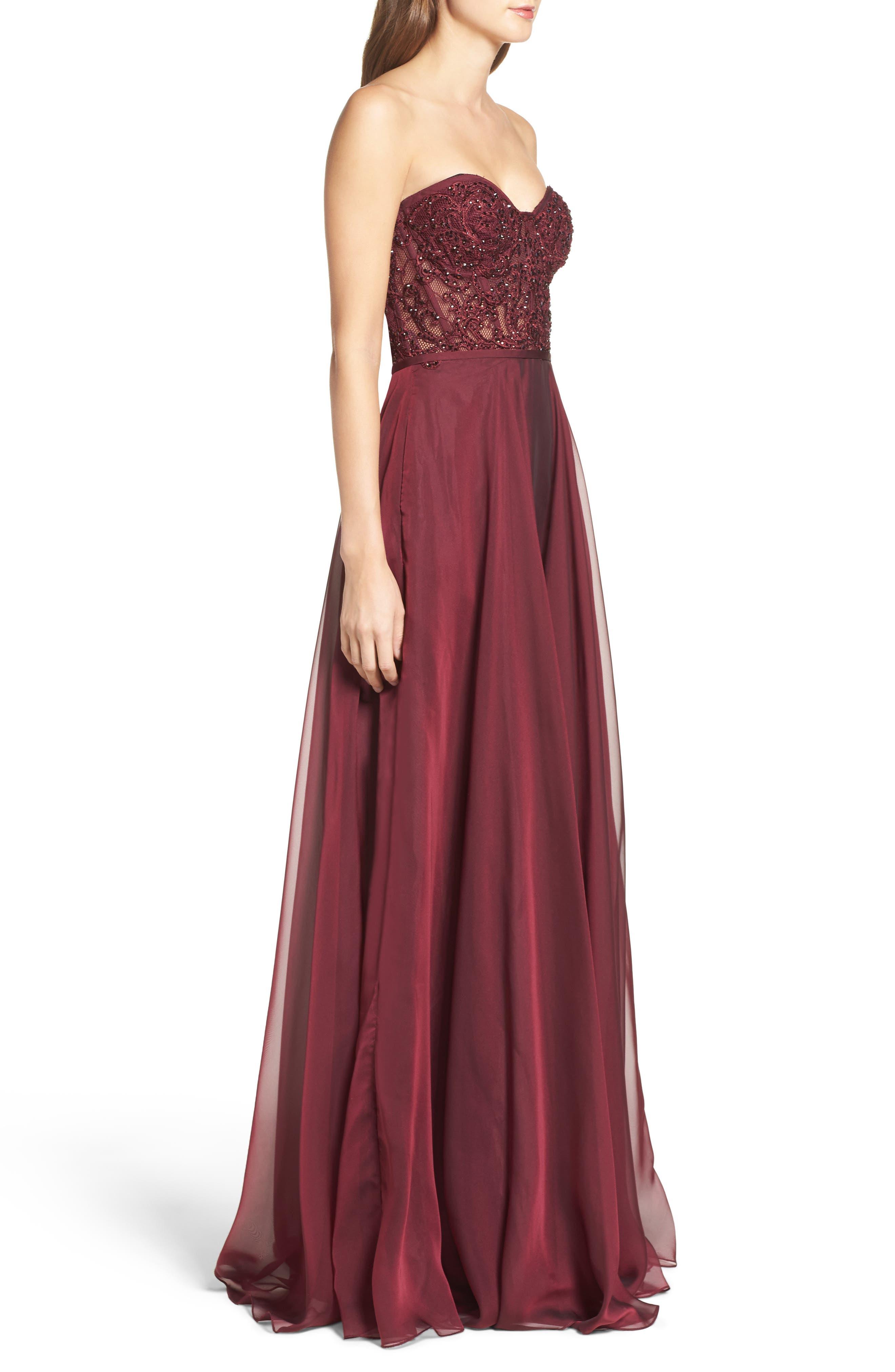 Alternate Image 3  - La Femme Embellished Strapless Gown