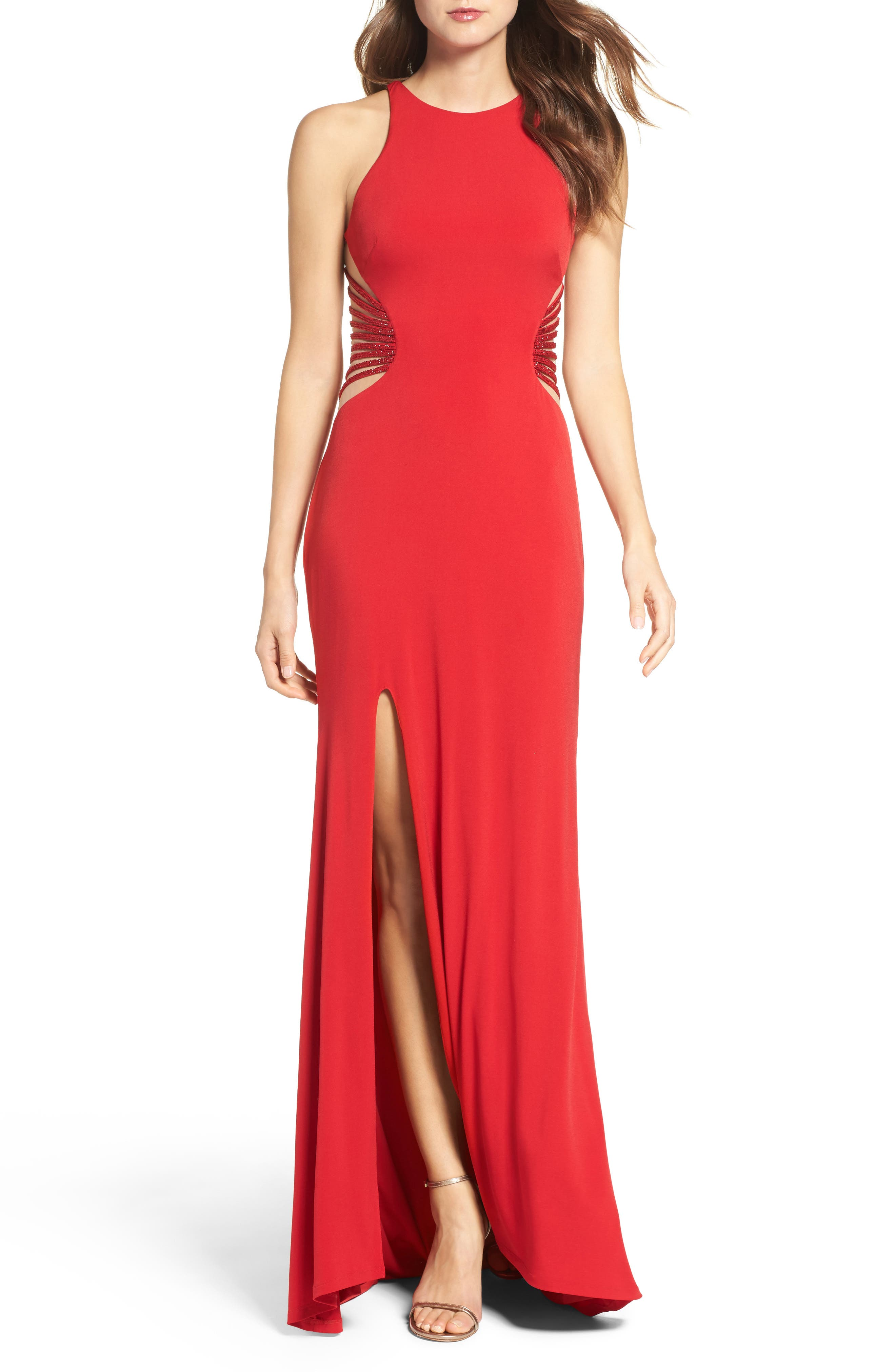 Alternate Image 1 Selected - La Femme Illusion Back Jersey Gown