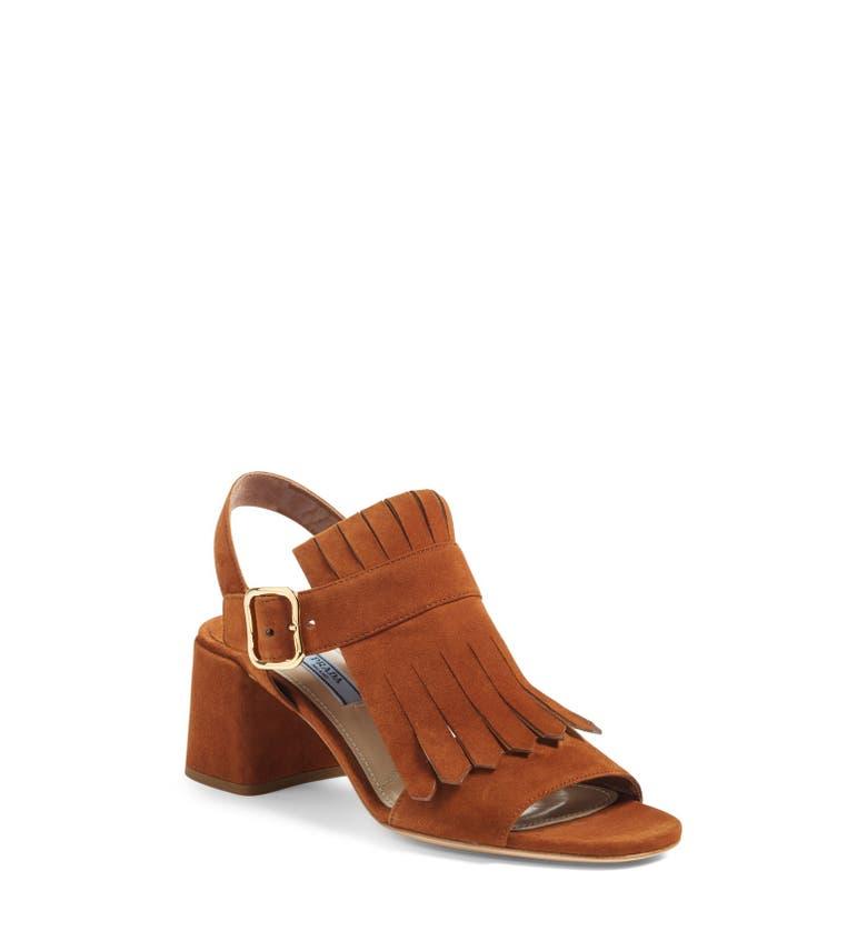 Prada Fringe Block Heel Sandal Women Nordstrom