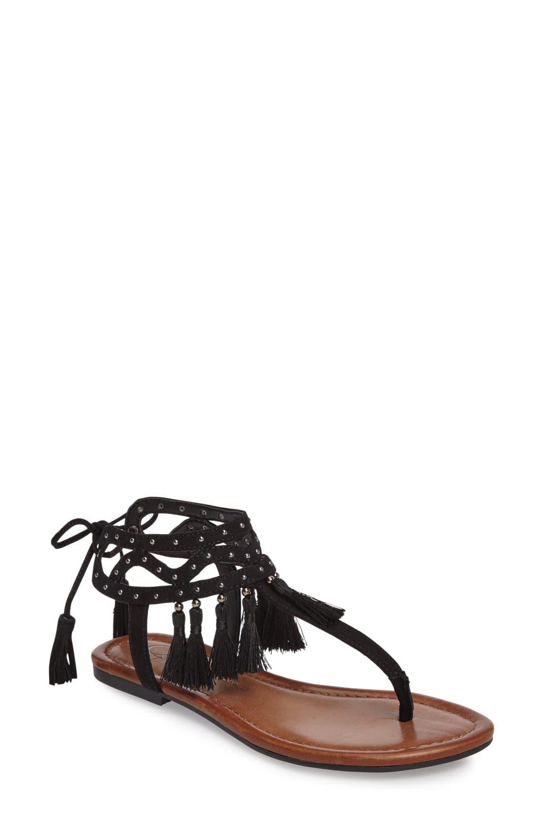 Alternate Image 1 Selected - Jessica Simpson Kamel Studded Tassel Sandal (Women)