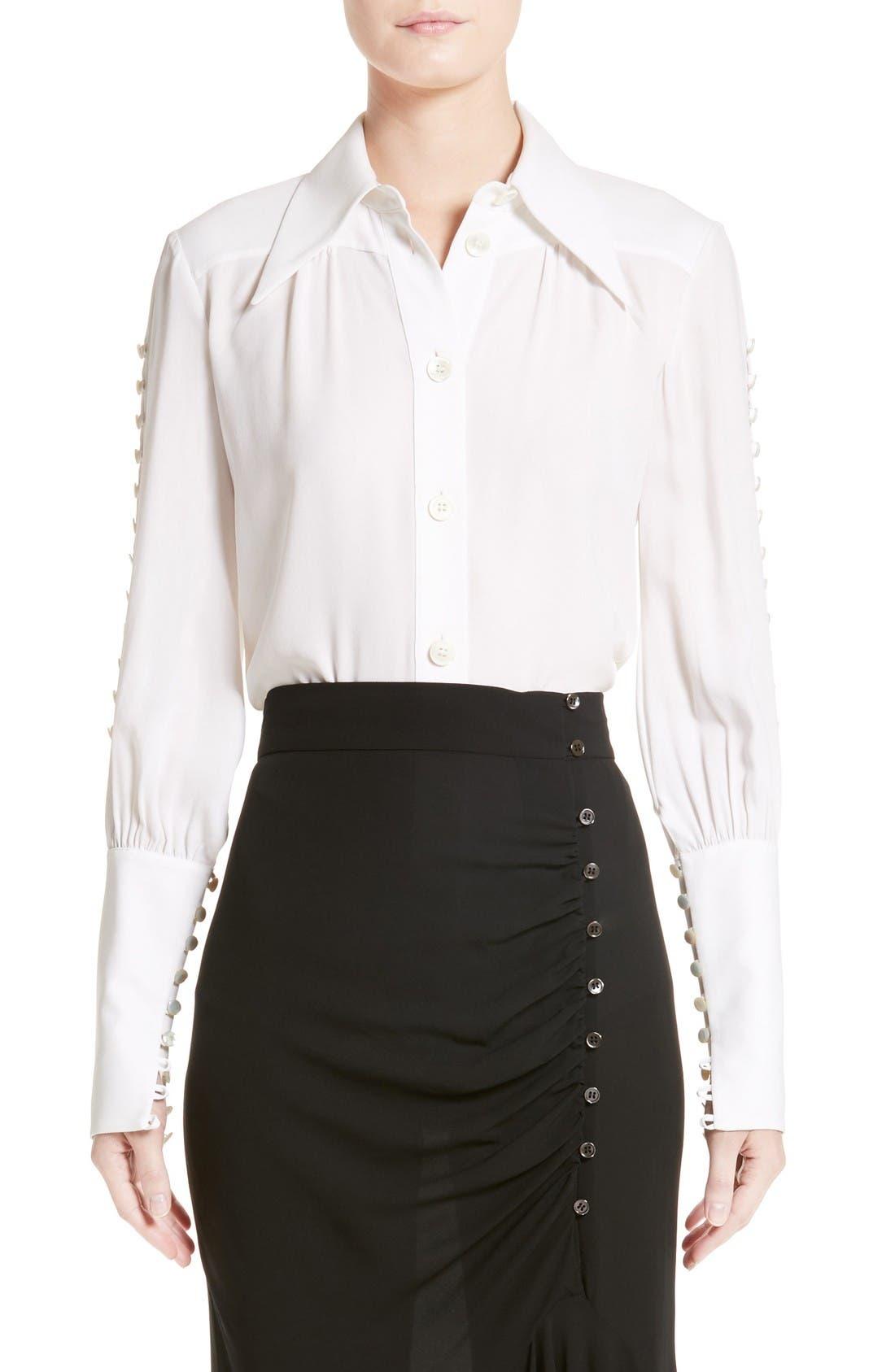 MICHAEL KORS Button Sleeve Silk Blouse