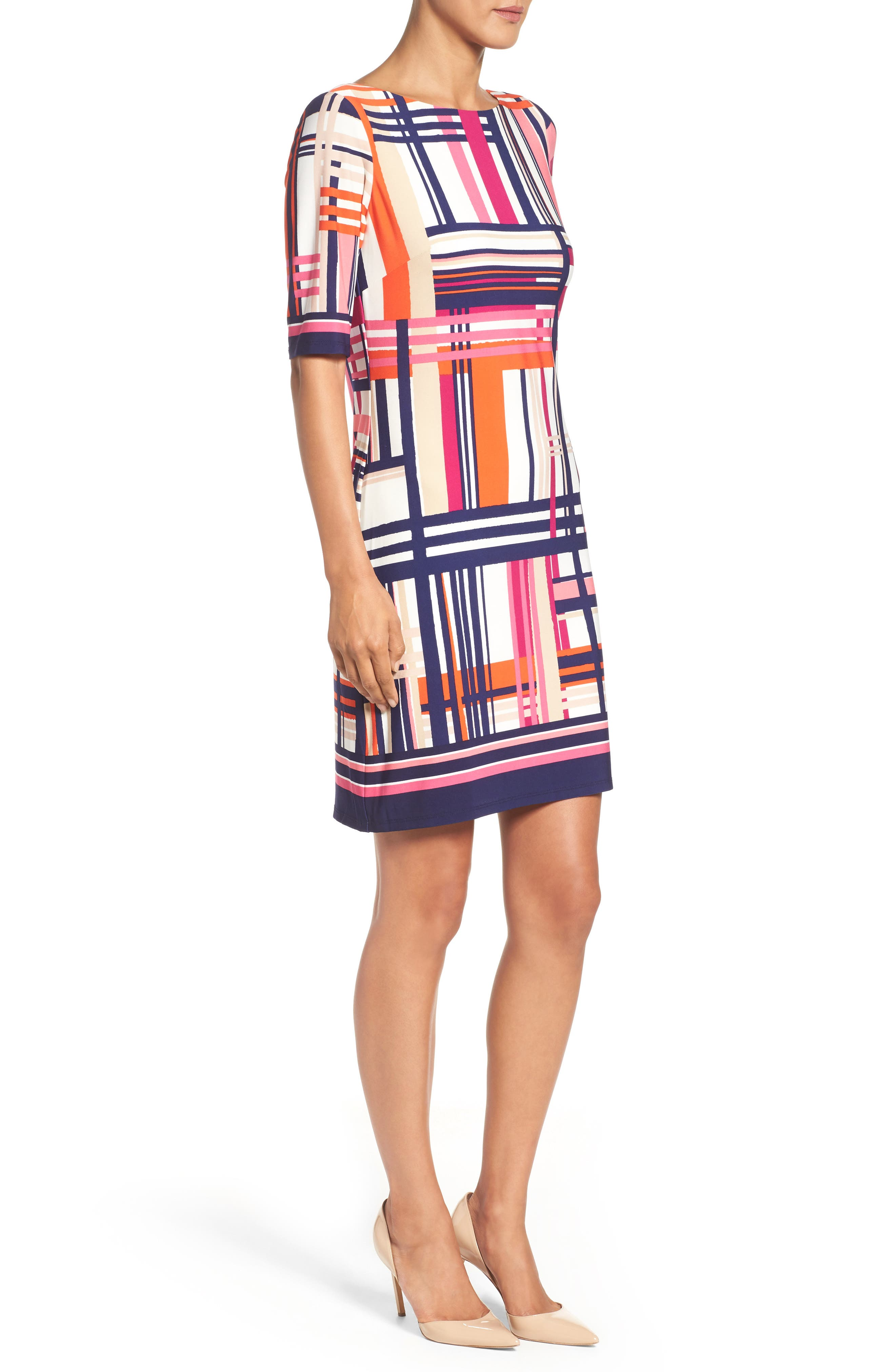 Alternate Image 3  - Eliza J Print Jersey Elbow Sleeve Shift Dress (Regular & Petite)