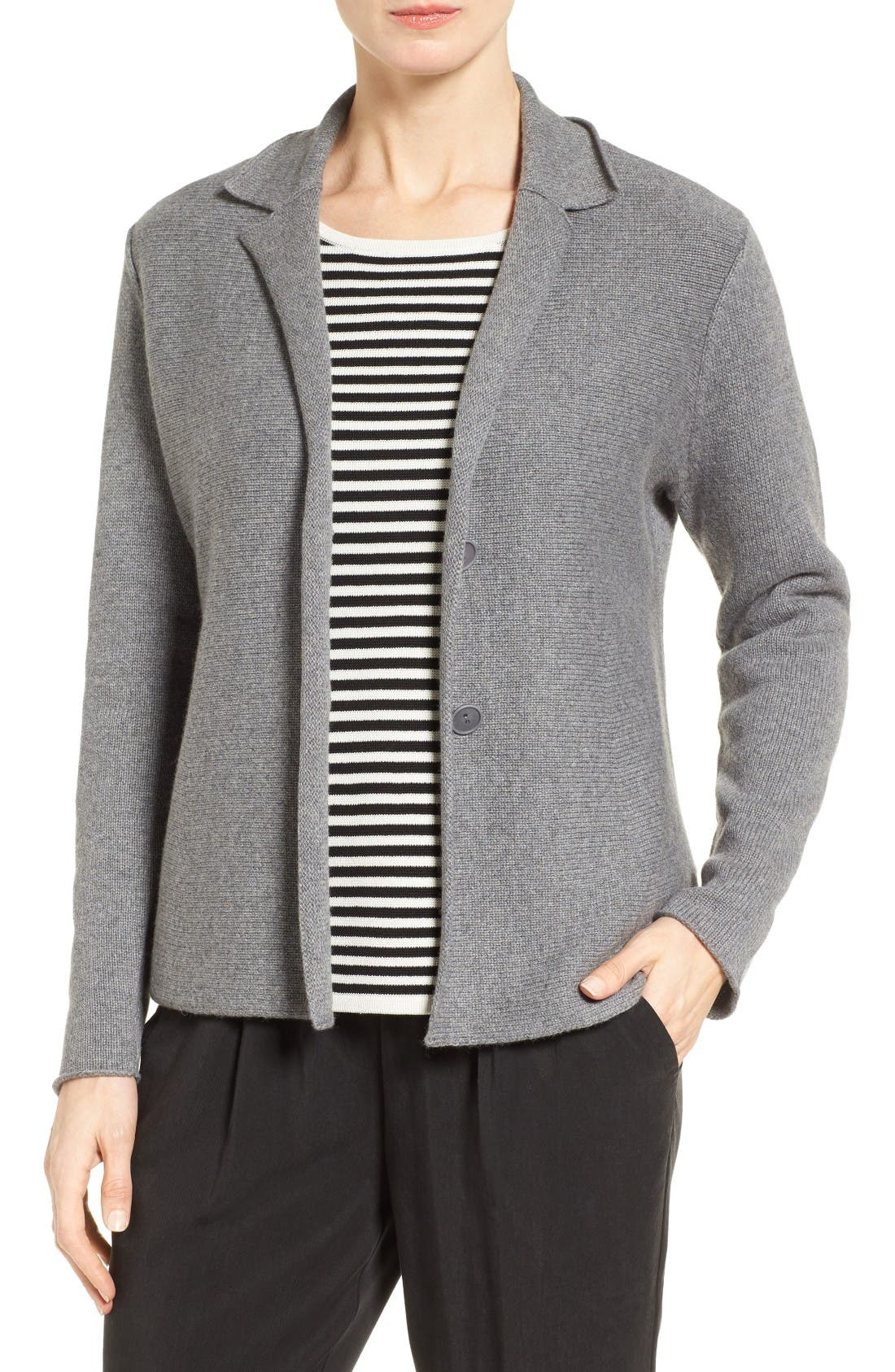 Alternate Image 1 Selected - Eileen Fisher Recycled Cashmere & Merino Wool Sweater Jacket
