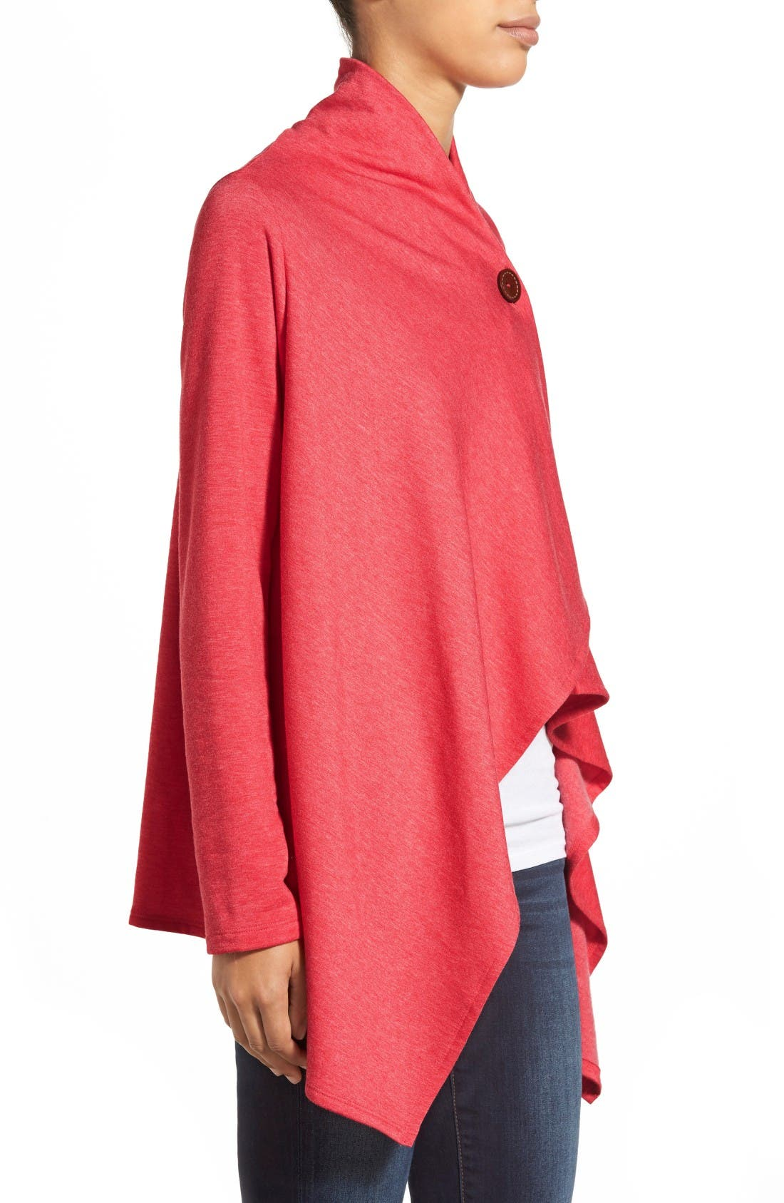 Alternate Image 3  - Bobeau One-Button Fleece Wrap Cardigan (Regular & Petite)