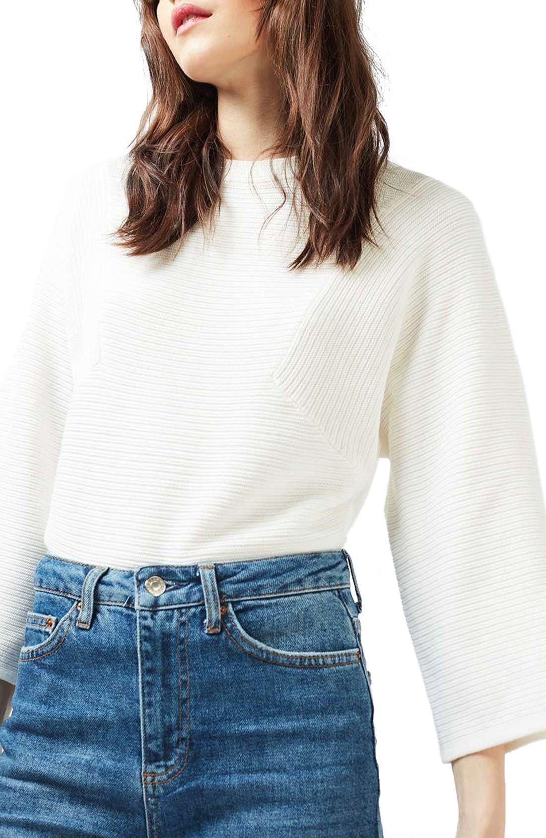 Main Image - Topshop Diamond Kimono Sleeve Sweater