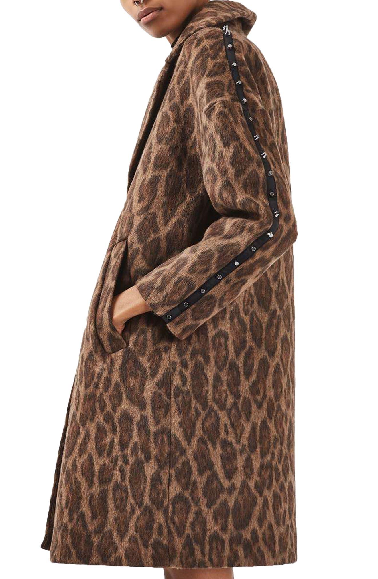 Alternate Image 3  - Topshop Stud Trim Leopard Print Coat