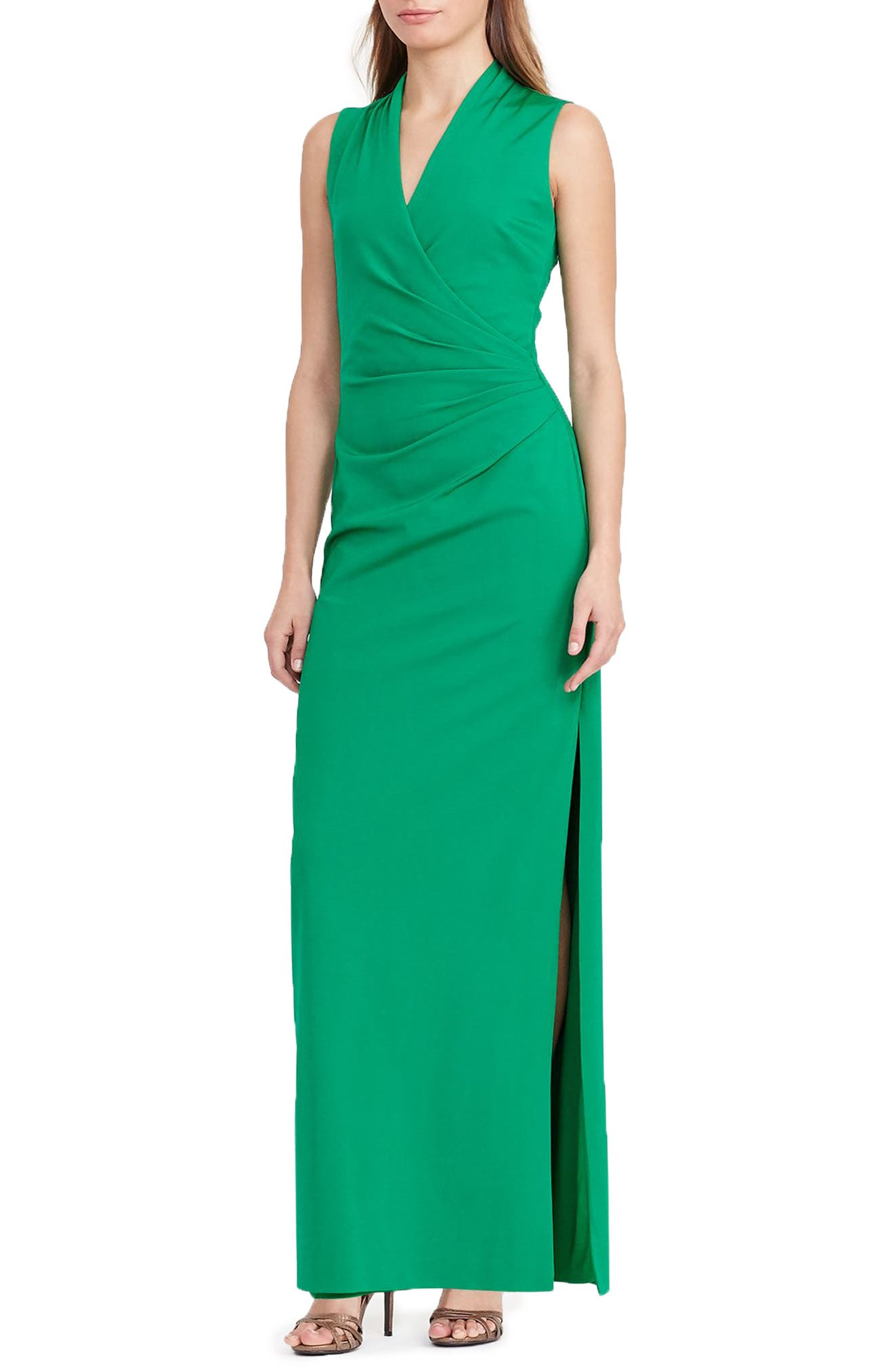 Main Image - Lauren Ralph Lauren Ruched Gown (Regular & Petite)