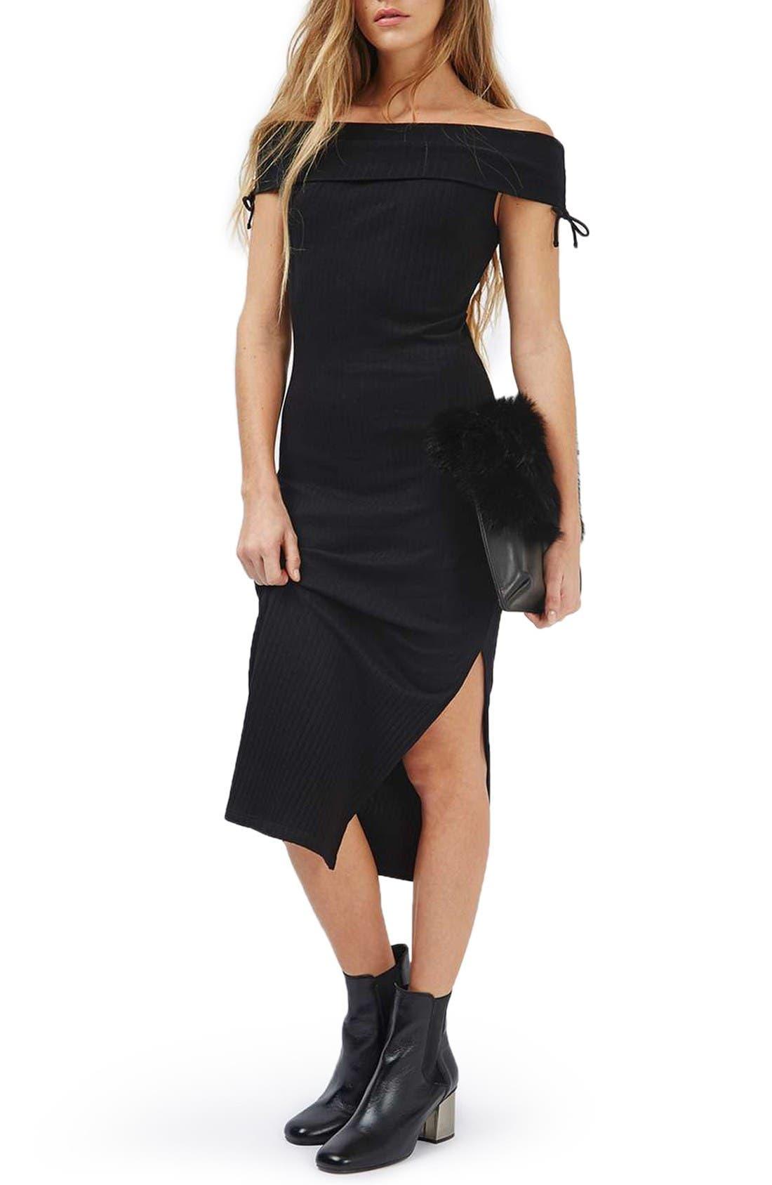 Main Image - Topshop Bardot Ribbed Midi Dress