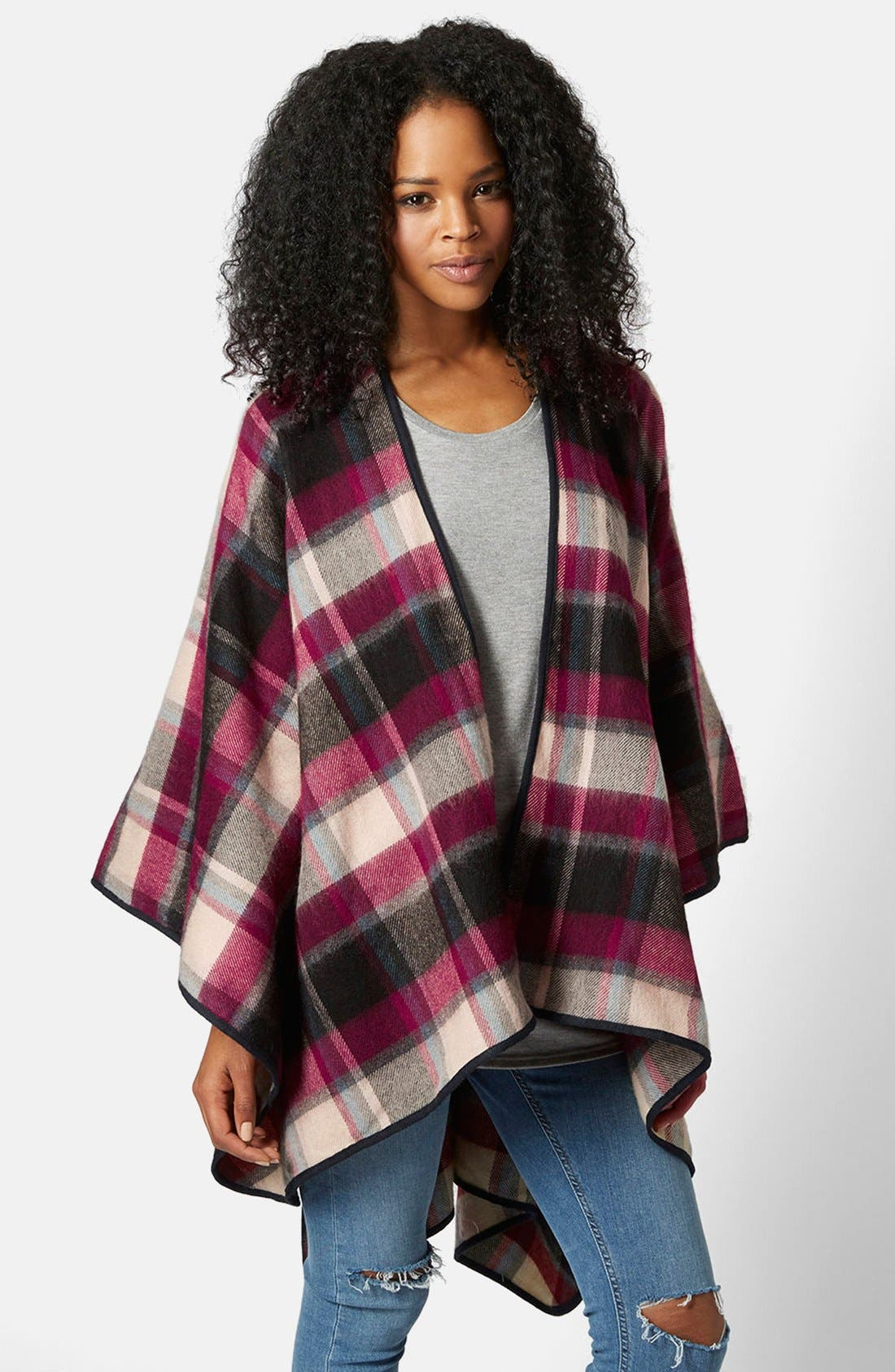 Alternate Image 2  - Topshop Check Print Cape