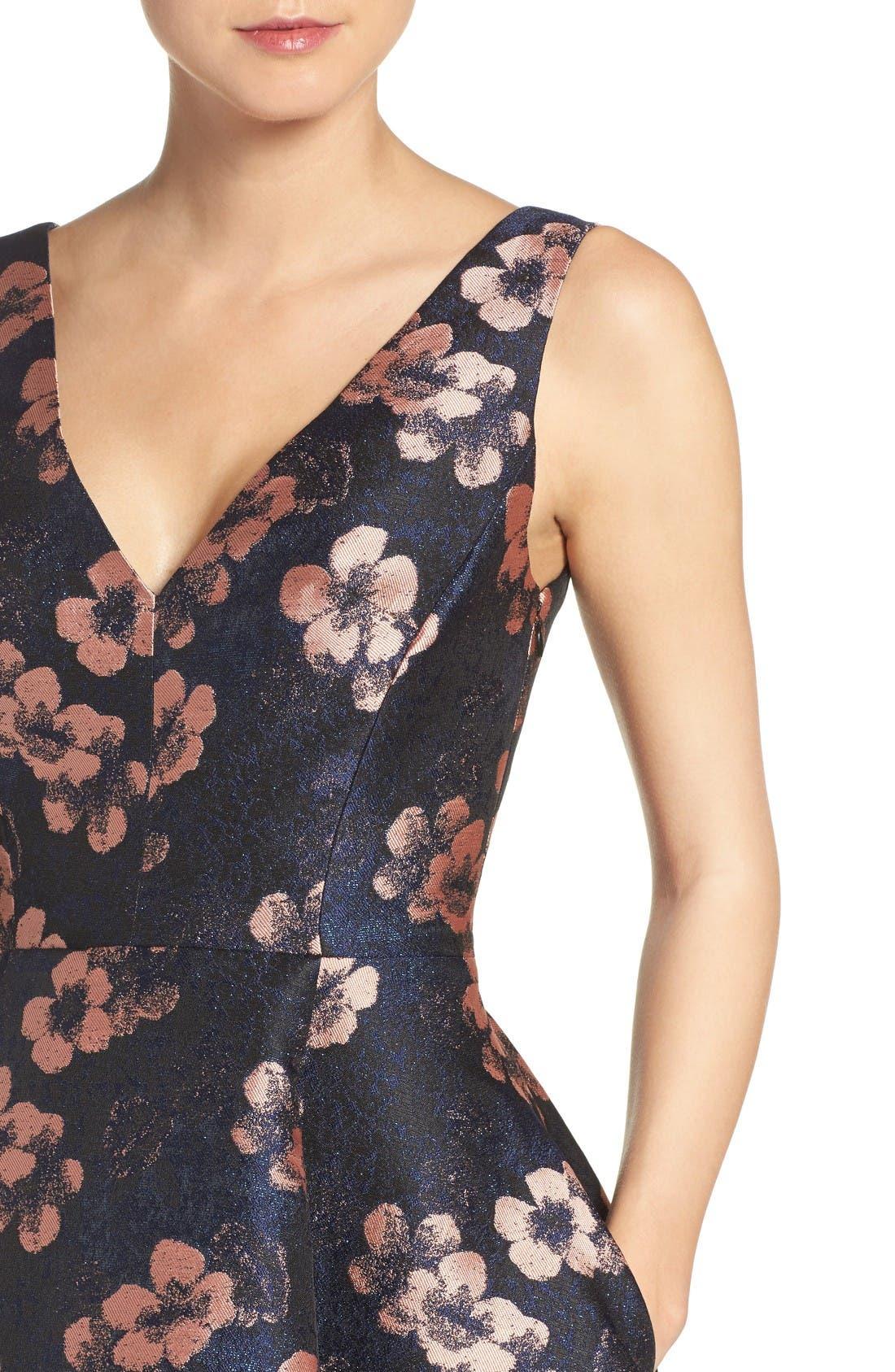 Alternate Image 5  - Betsey Johnson Metallic Jacquard Fit & Flare Dress