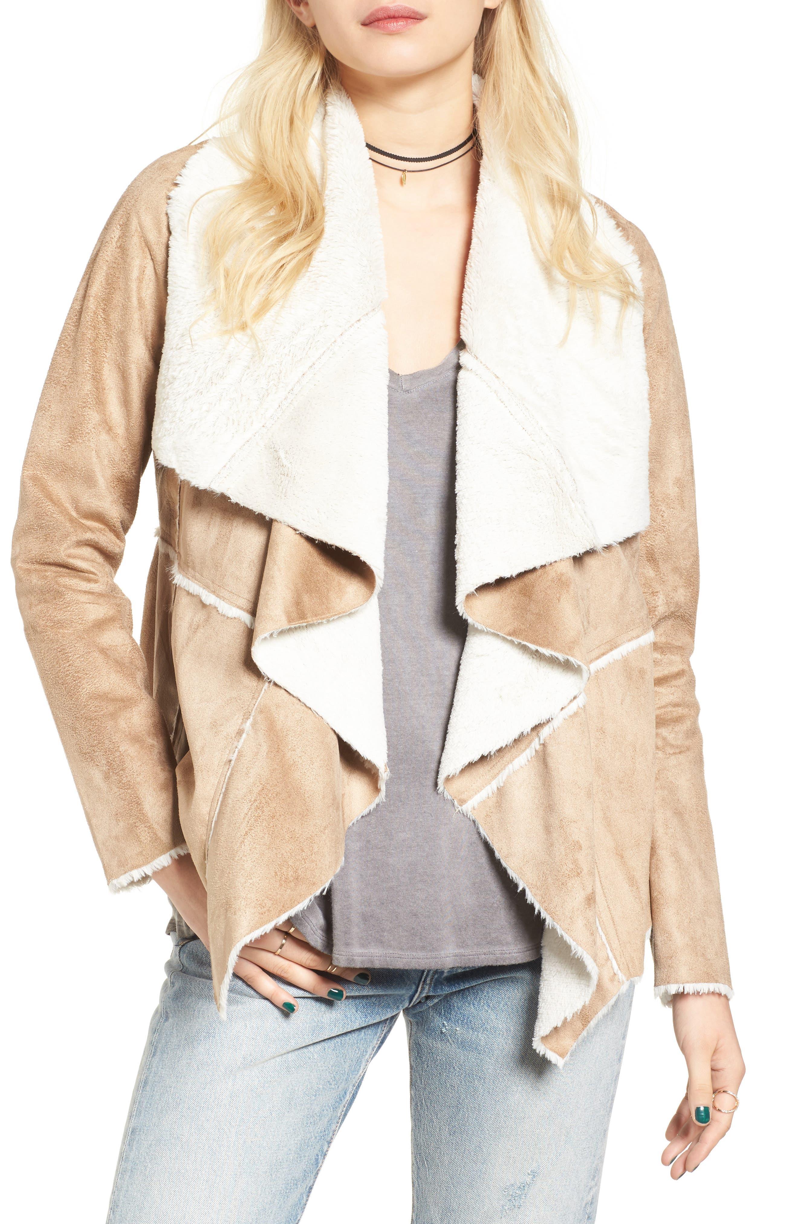 Main Image - Soprano Faux Shearling Moto Jacket
