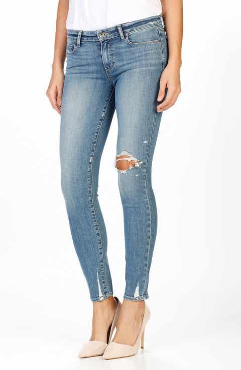 PAIGE Verdugo Distressed Ultra Skinny Jeans (Pryor Destructed) - PAIGE Light Blue Wash Skinny Jeans For Women Nordstrom