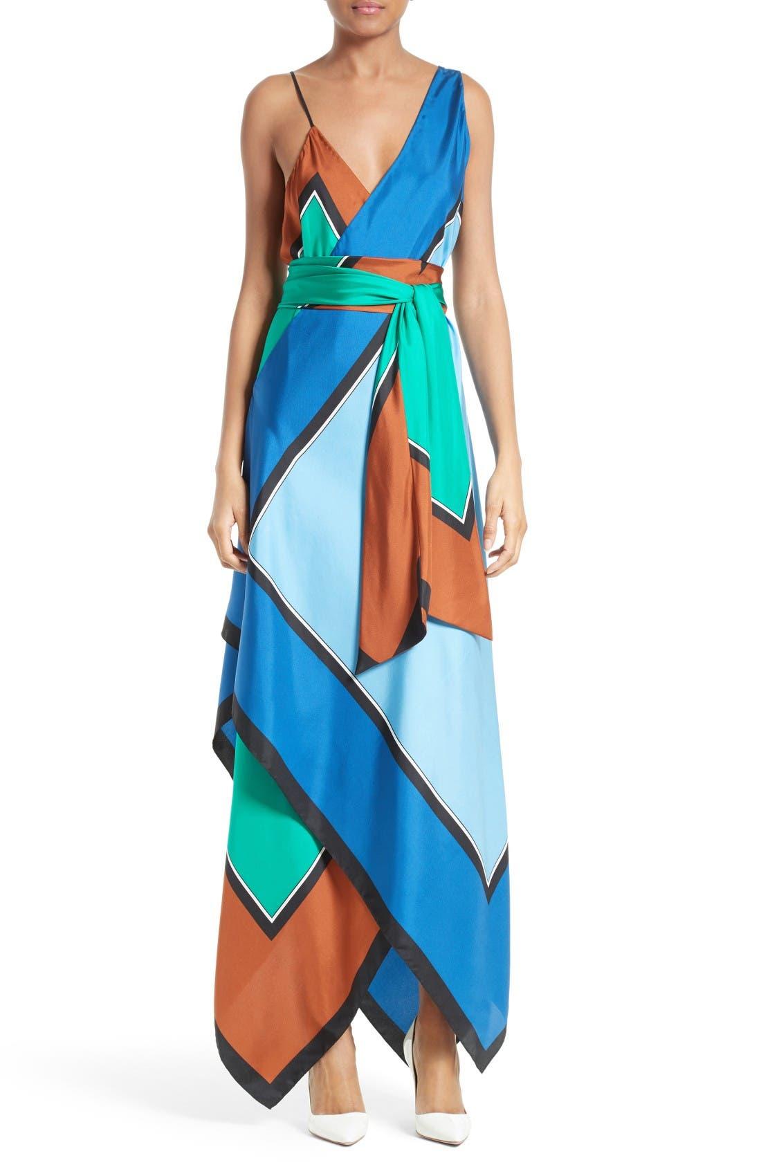 Alternate Image 1 Selected - Diane von Furstenberg Scarf Hem Silk Maxi Dress