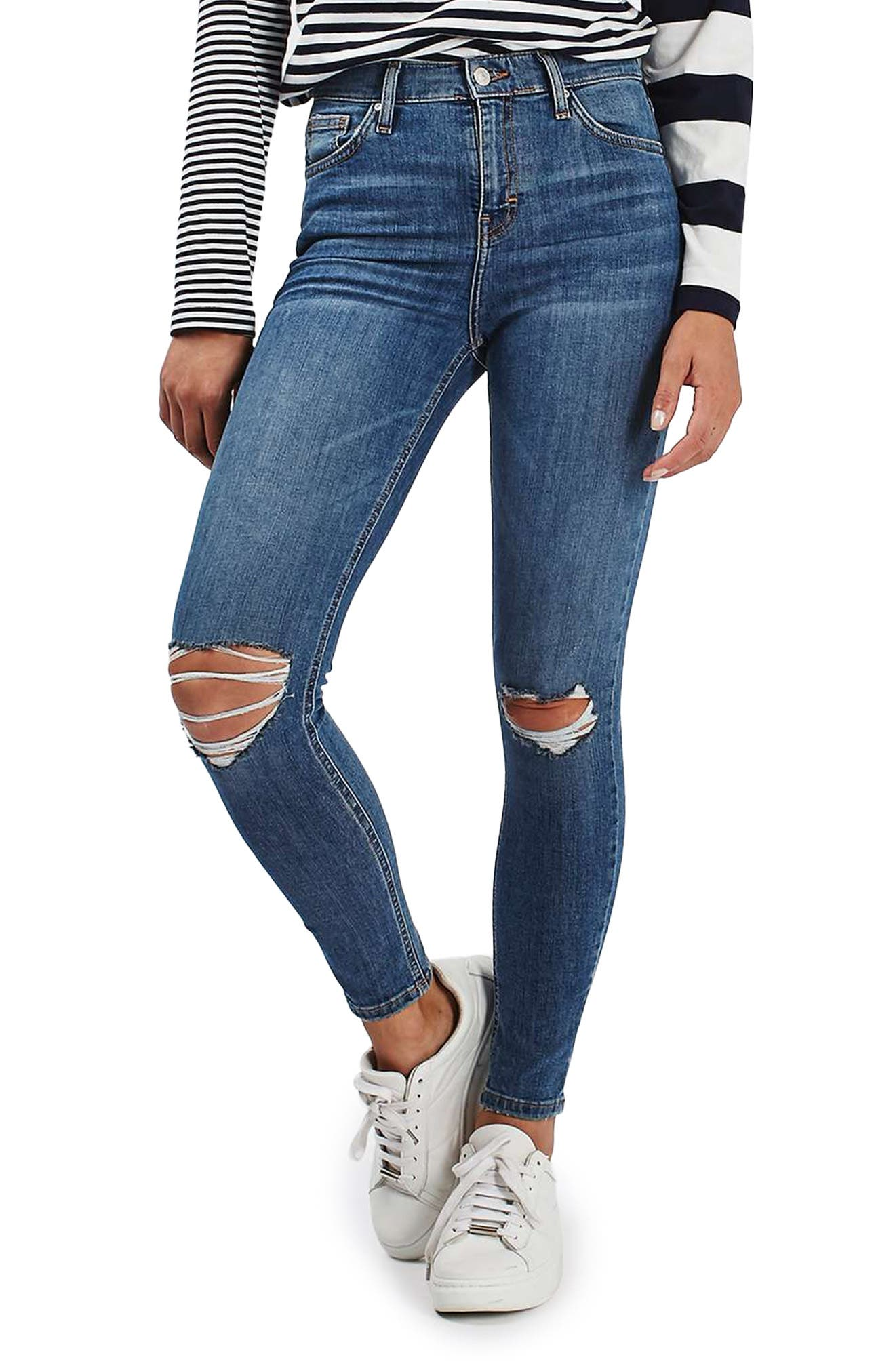 Main Image - Topshop Moto Jamie Ripped High Waist Ankle Skinny Jeans