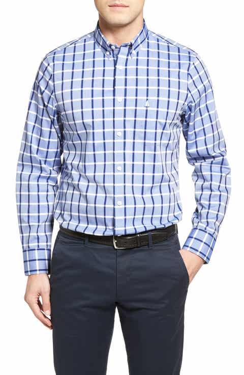 Nordstrom Men's Shop Smartcare™ Regular Fit Windowpane Sport Shirt (Regular   Tall)