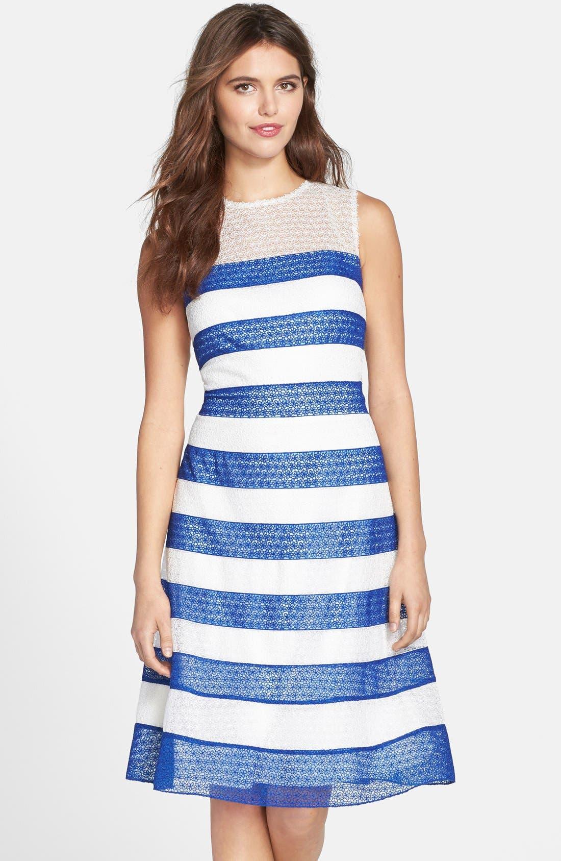 Main Image - Tadashi Shoji Stripe Lace Fit & Flare Dress