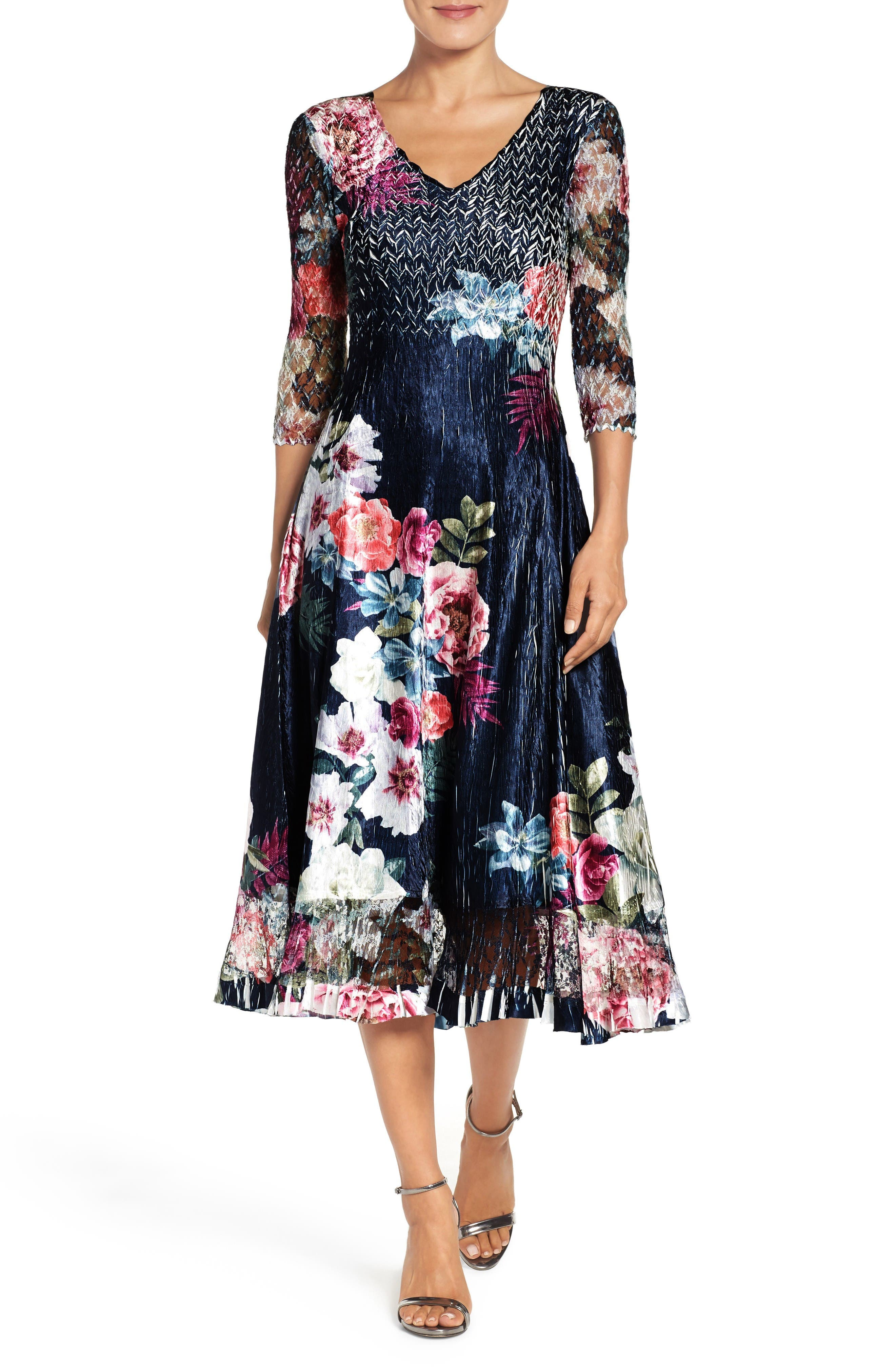 Komarov Floral Print Midi Dress