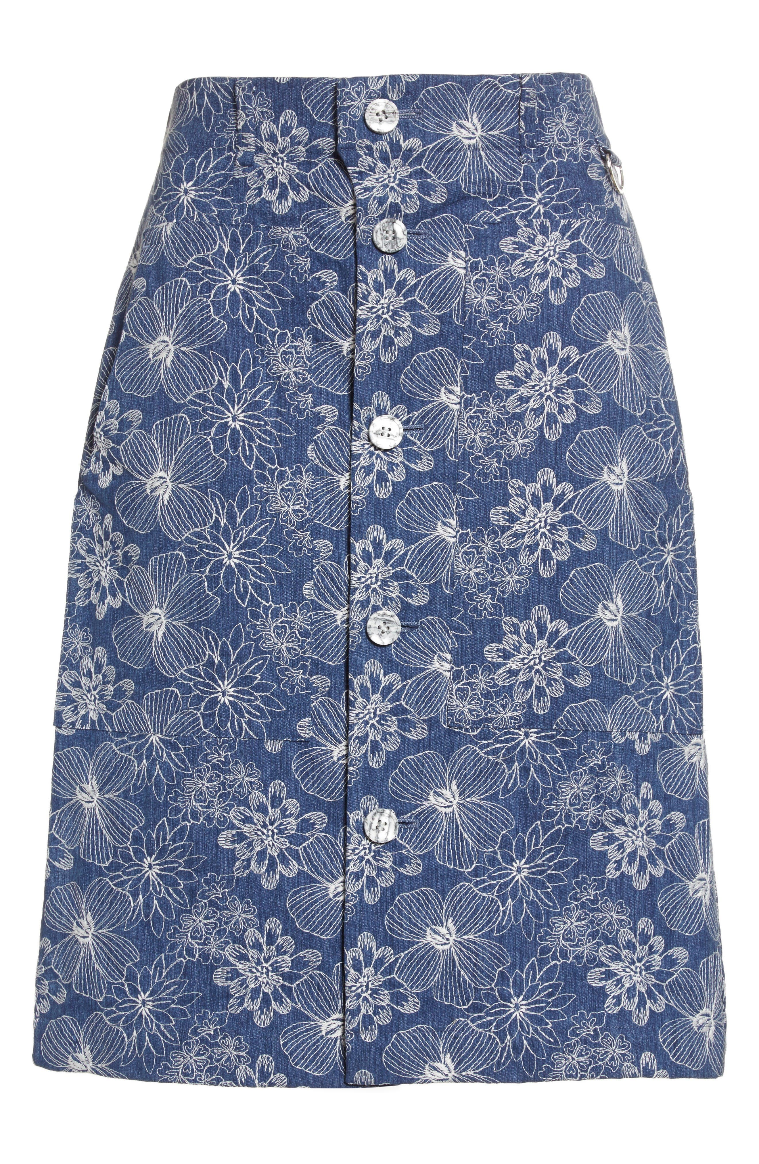Alternate Image 4  - Julien David Floral Embroidered Cotton Skirt