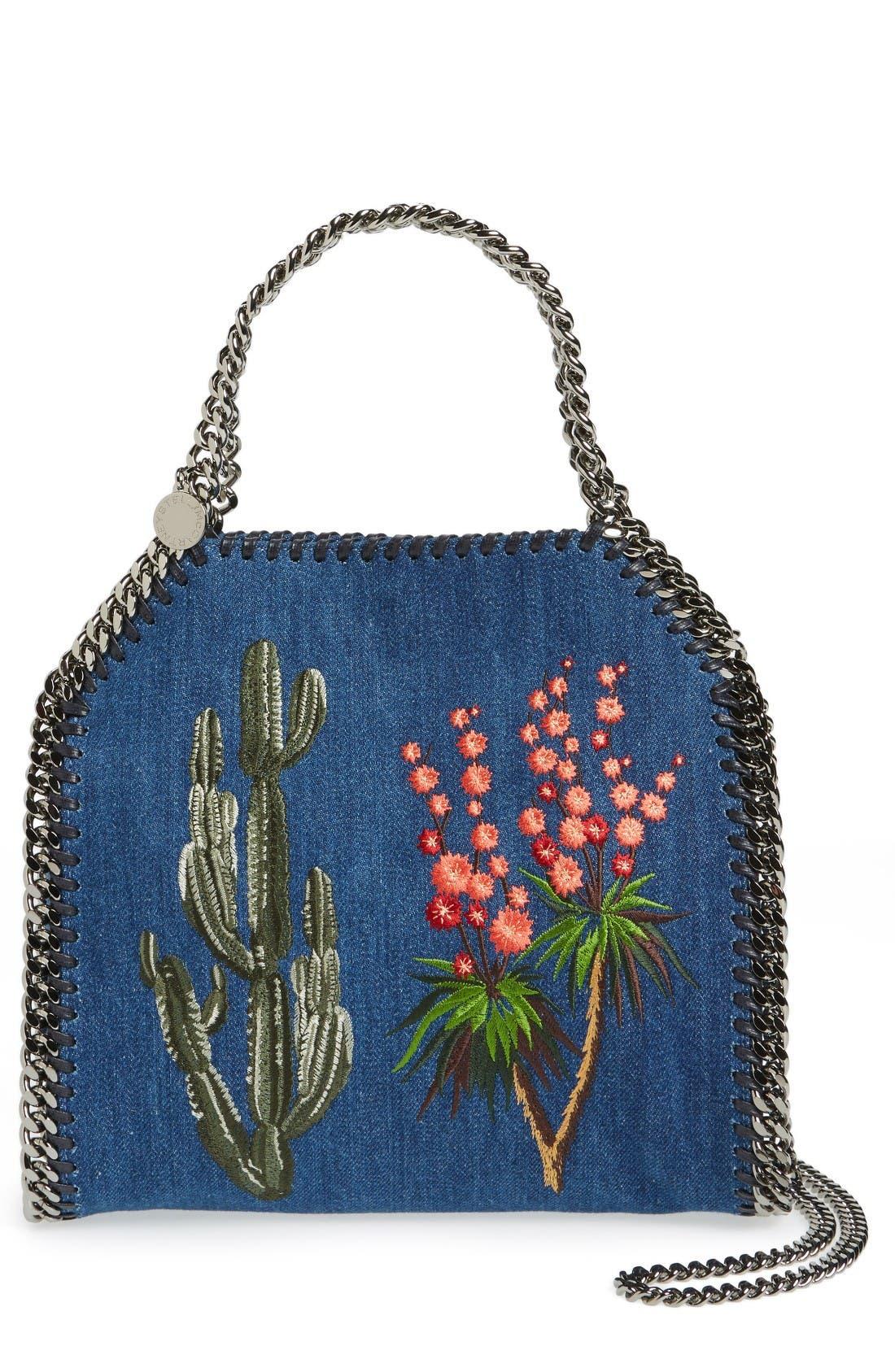 Alternate Image 1 Selected - Stella McCartney Mini Falabella Embroidered Denim Tote