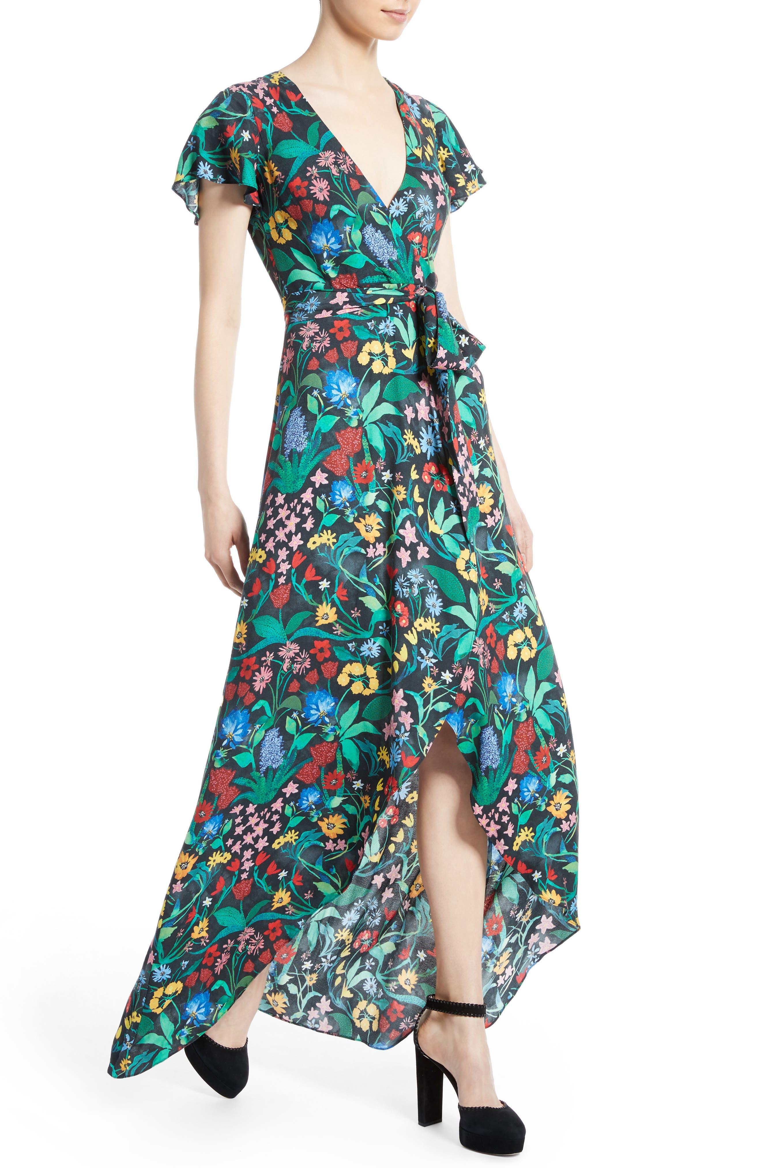 Alternate Image 4  - Alice + Olivia Adrianna Floral Faux Wrap Maxi Dress