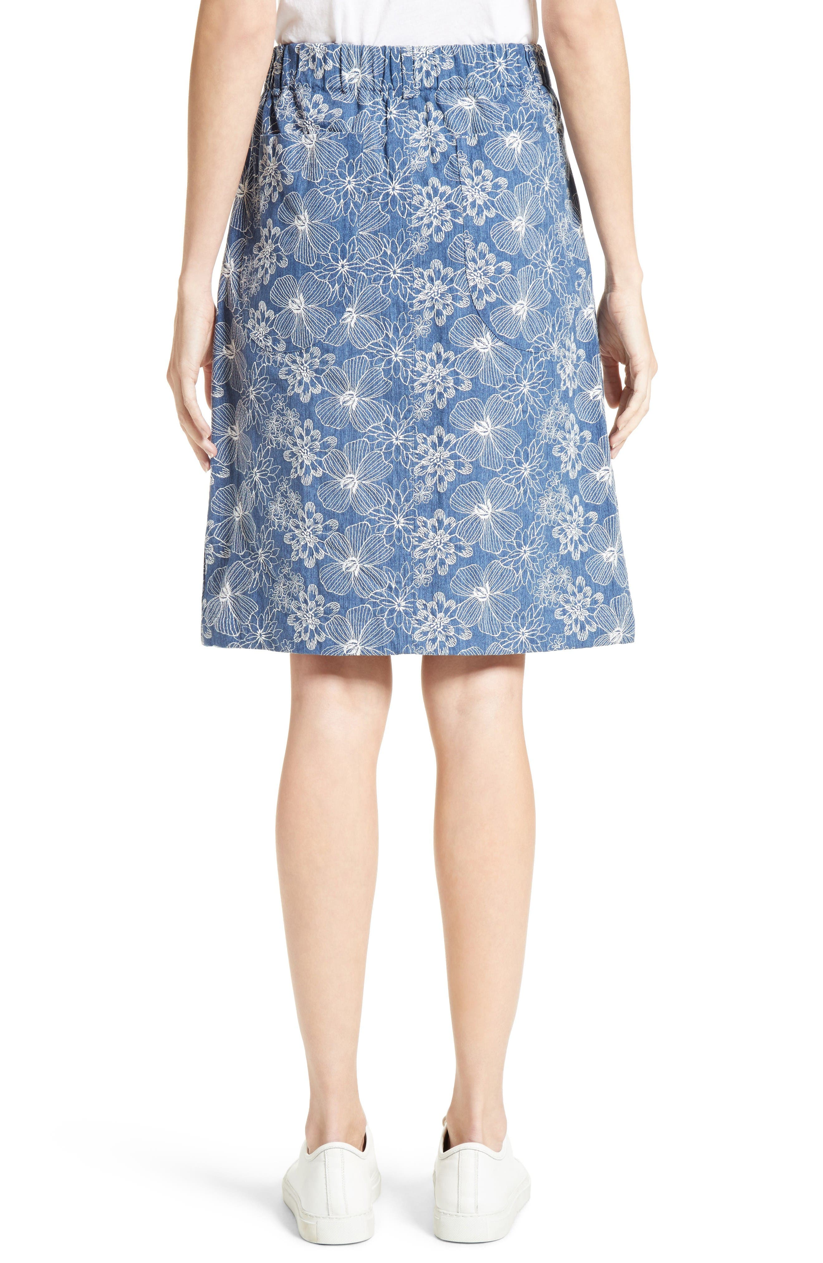 Alternate Image 2  - Julien David Floral Embroidered Cotton Skirt