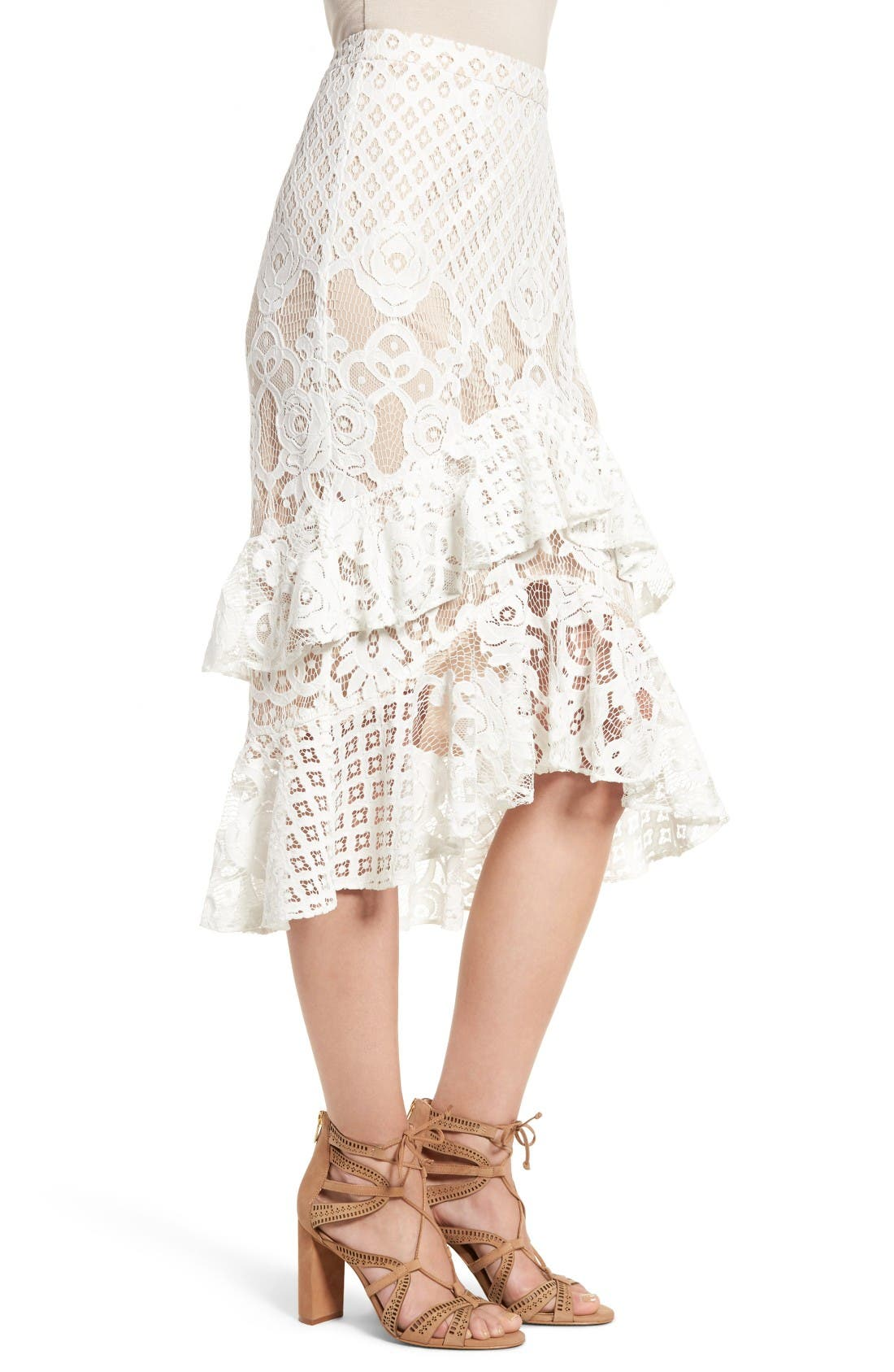 Alternate Image 4  - Chelsea28 Tiered Lace Midi Skirt