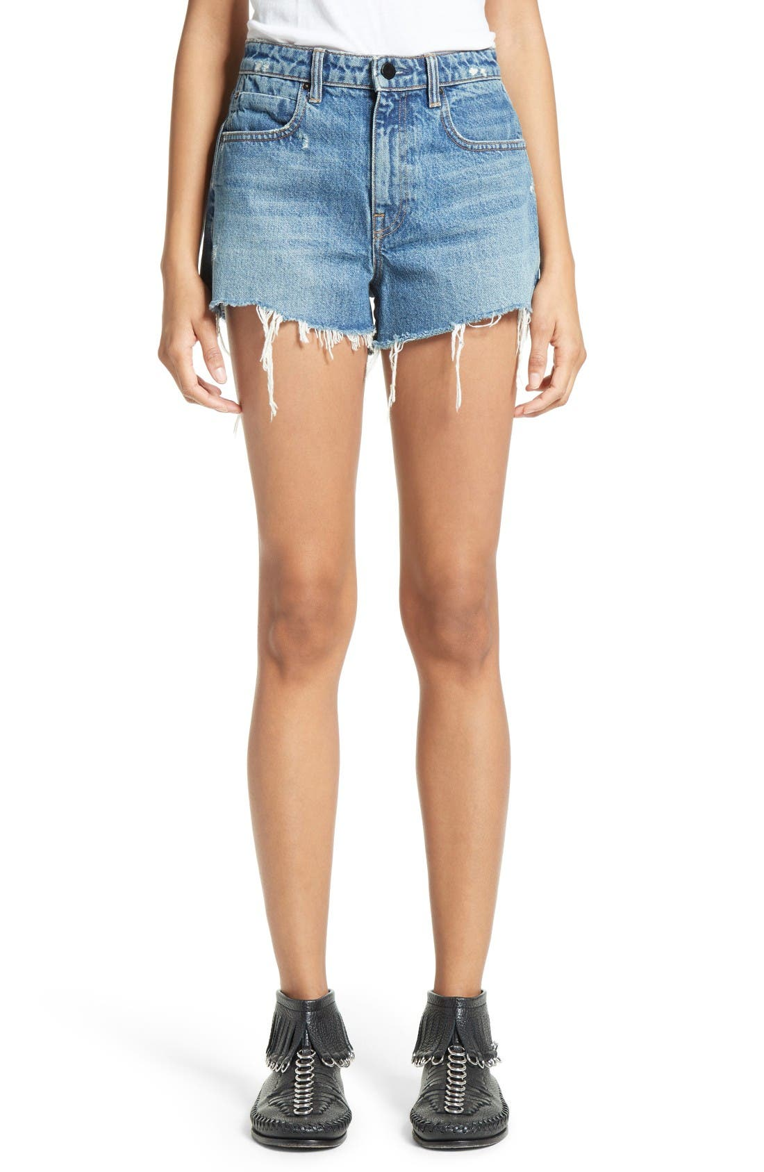 Denim x Alexander Wang High Waist Frayed Denim Shorts (Light Indigo Aged)