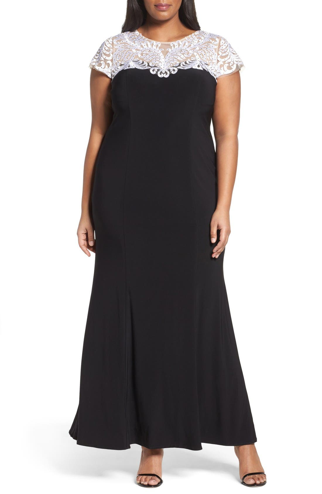 Alex Evenings Colorblock Fit & Flare Gown (Plus Size)