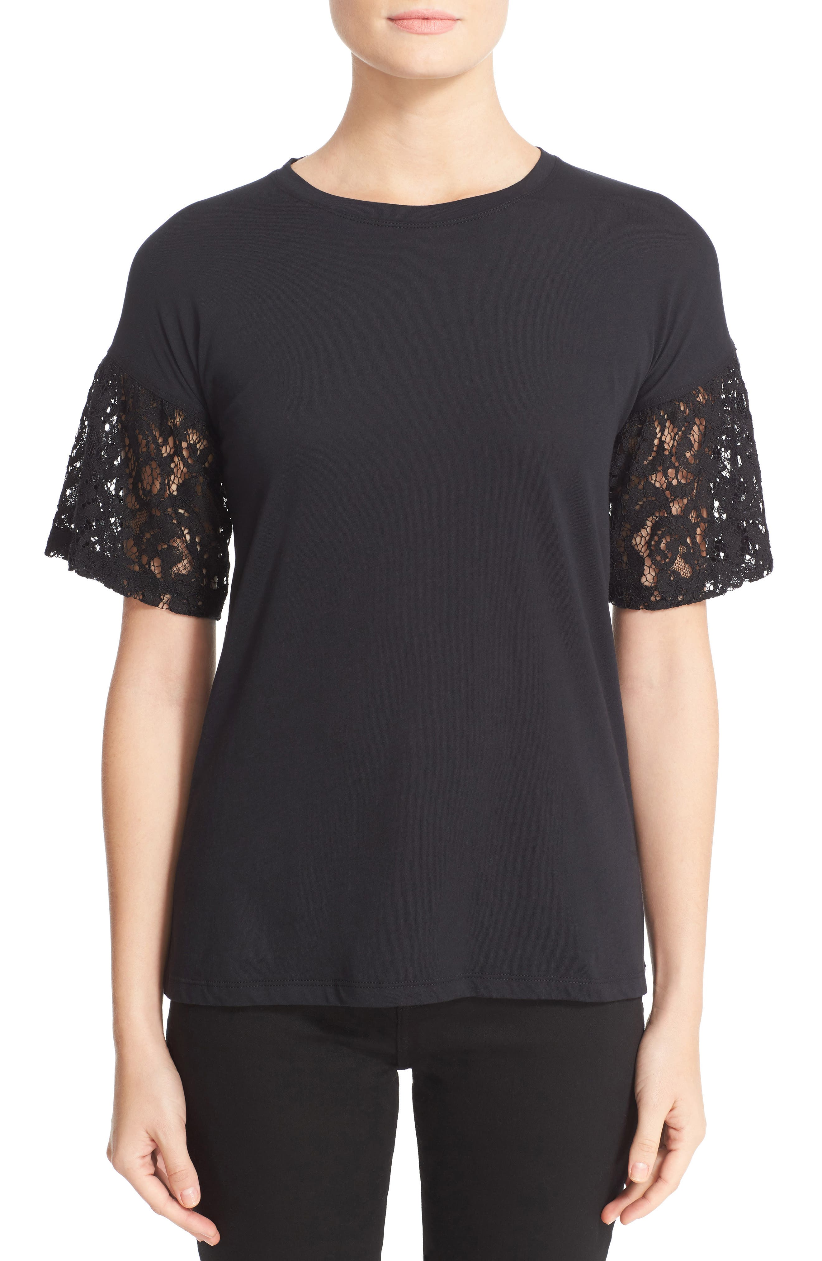 Alternate Image 1 Selected - Burberry Lace Puff Sleeve Tee