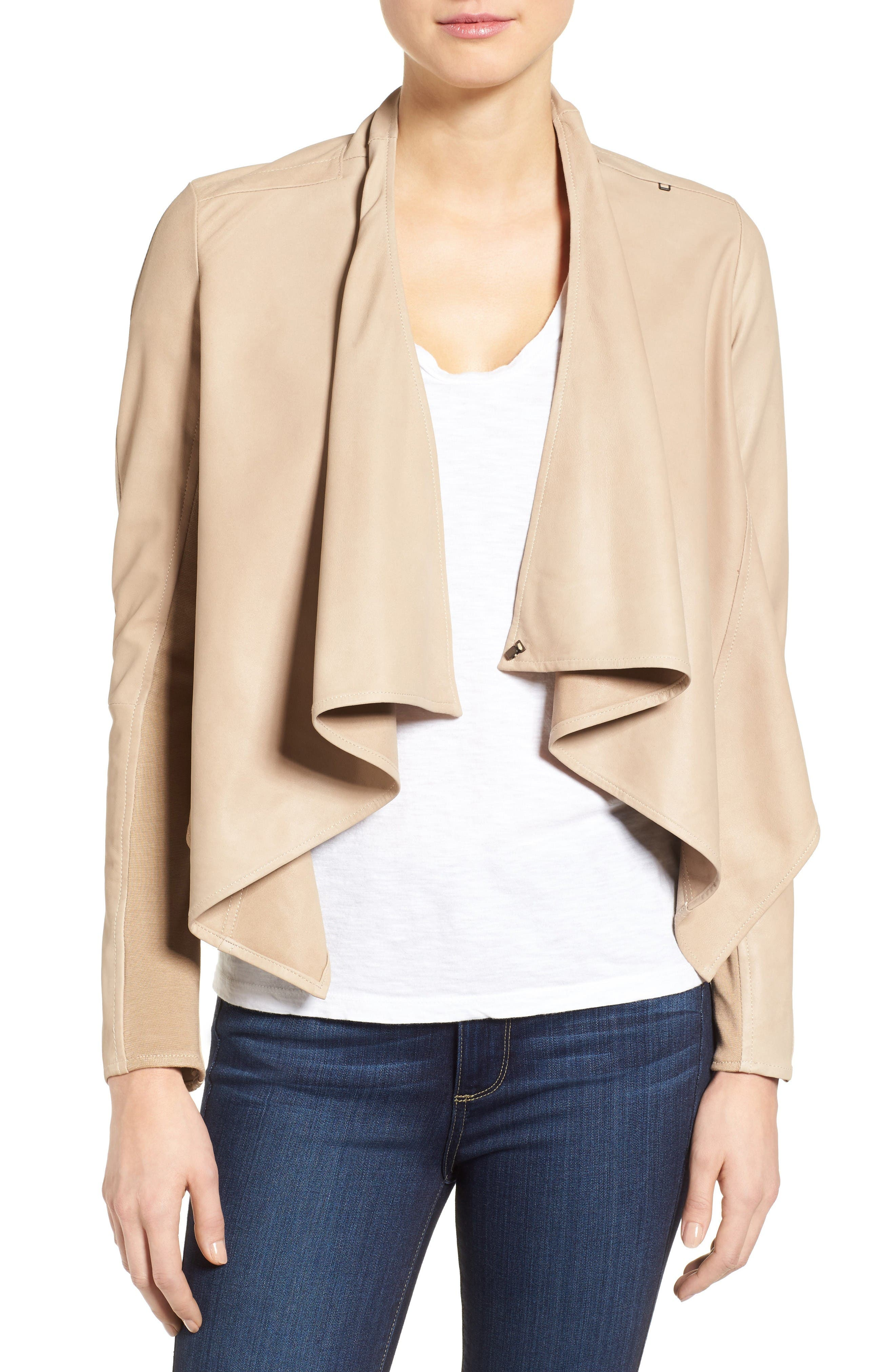 LAMARQUE 'Madison' Drape Front Suede Jacket
