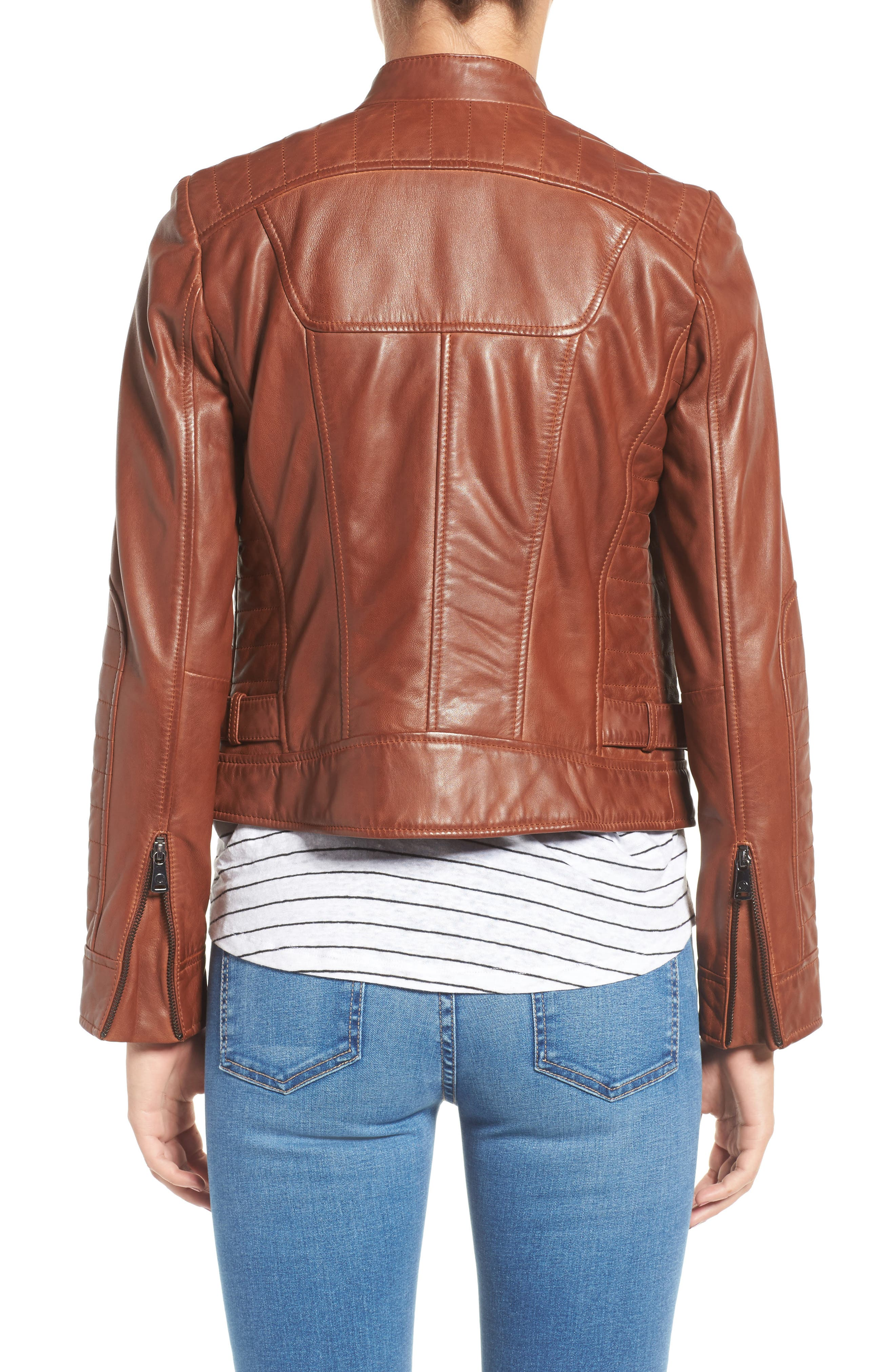 Alternate Image 2  - Bernardo Quilted Leather Moto Jacket (Regular & Petite)