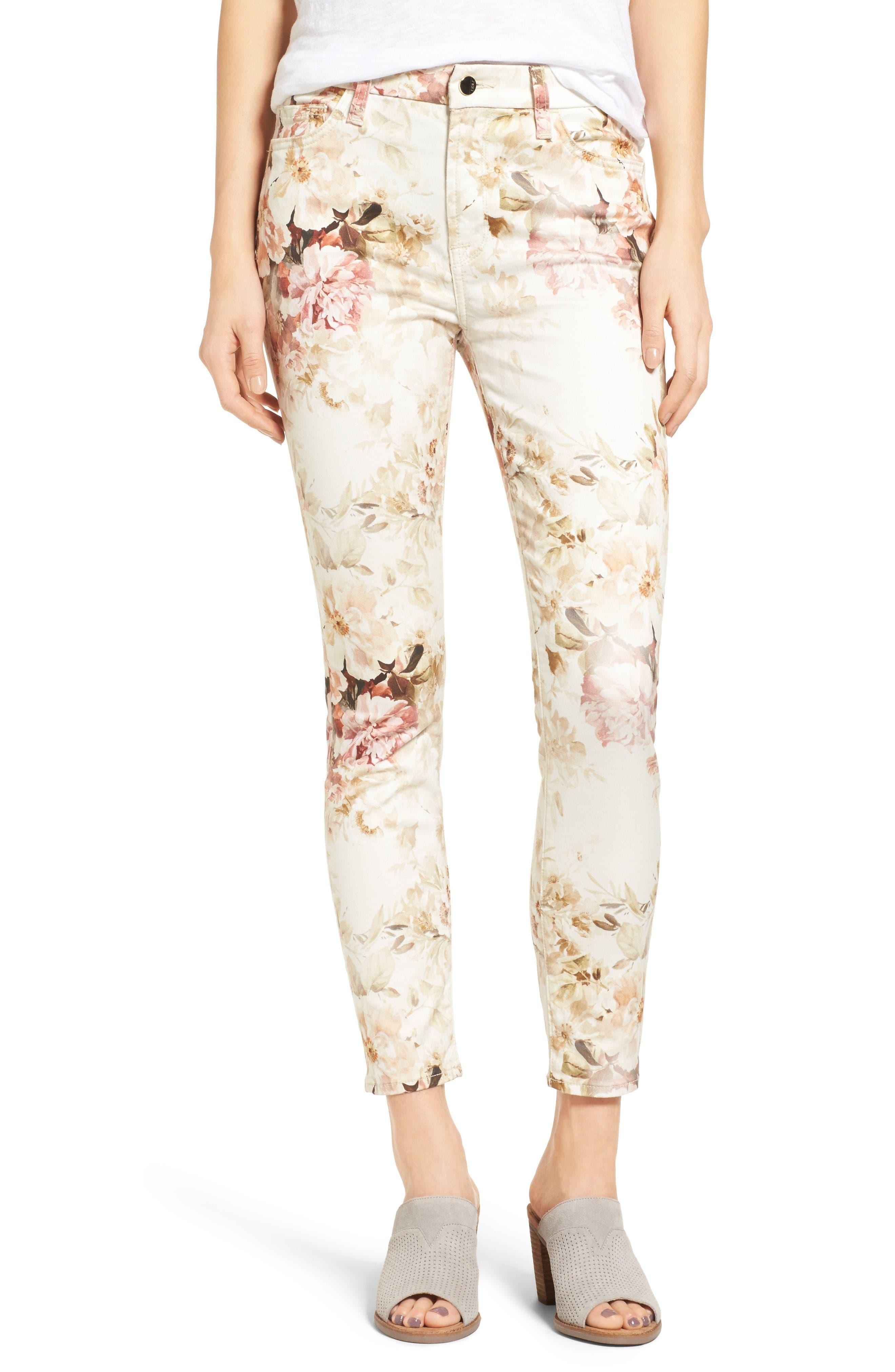 Main Image - Jen7 Floral Print Stretch Ankle Skinny Jeans (Vintage Garden)