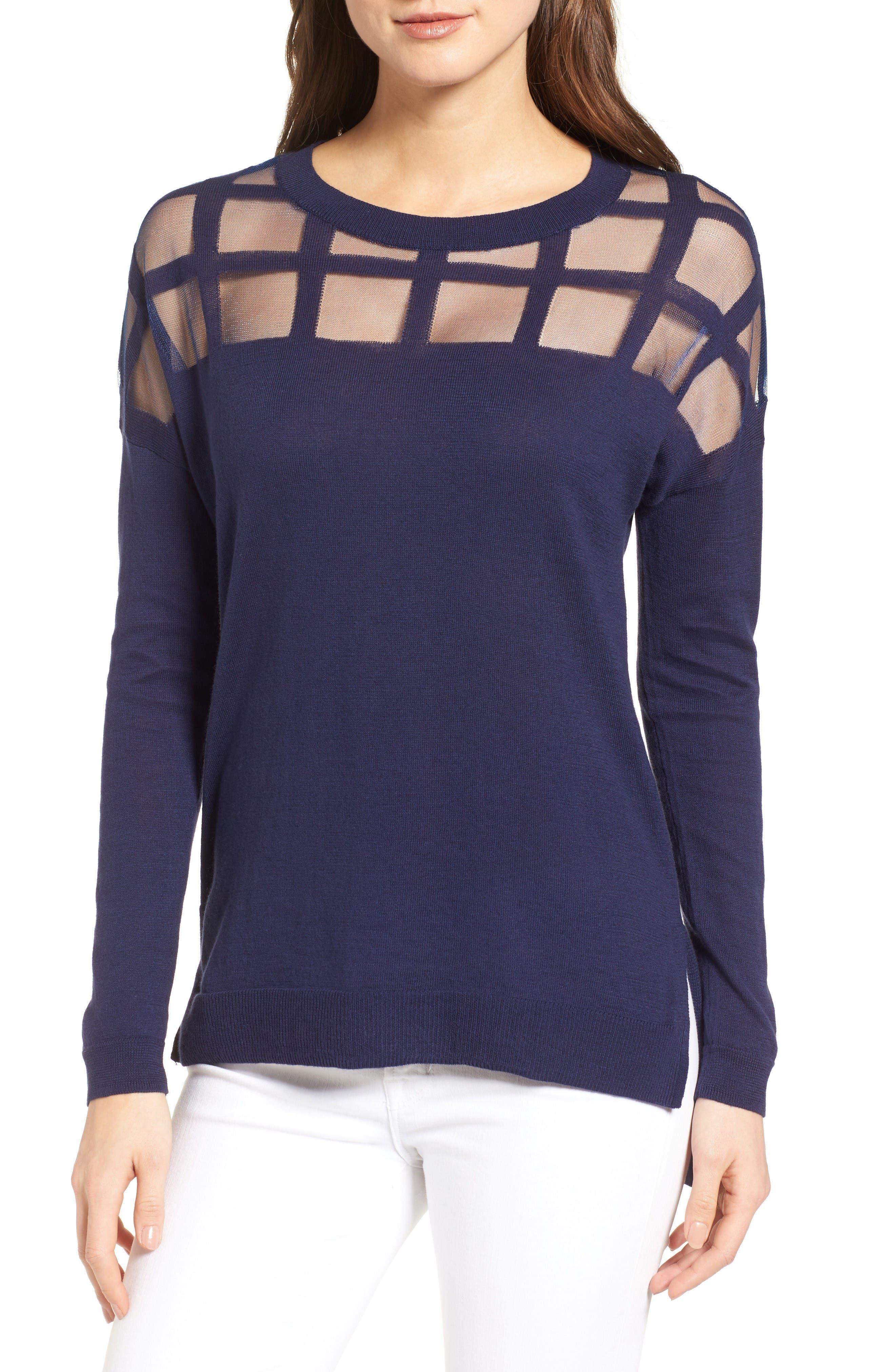 Alternate Image 1 Selected - Trouvé Sheer Grid Yoke Sweater