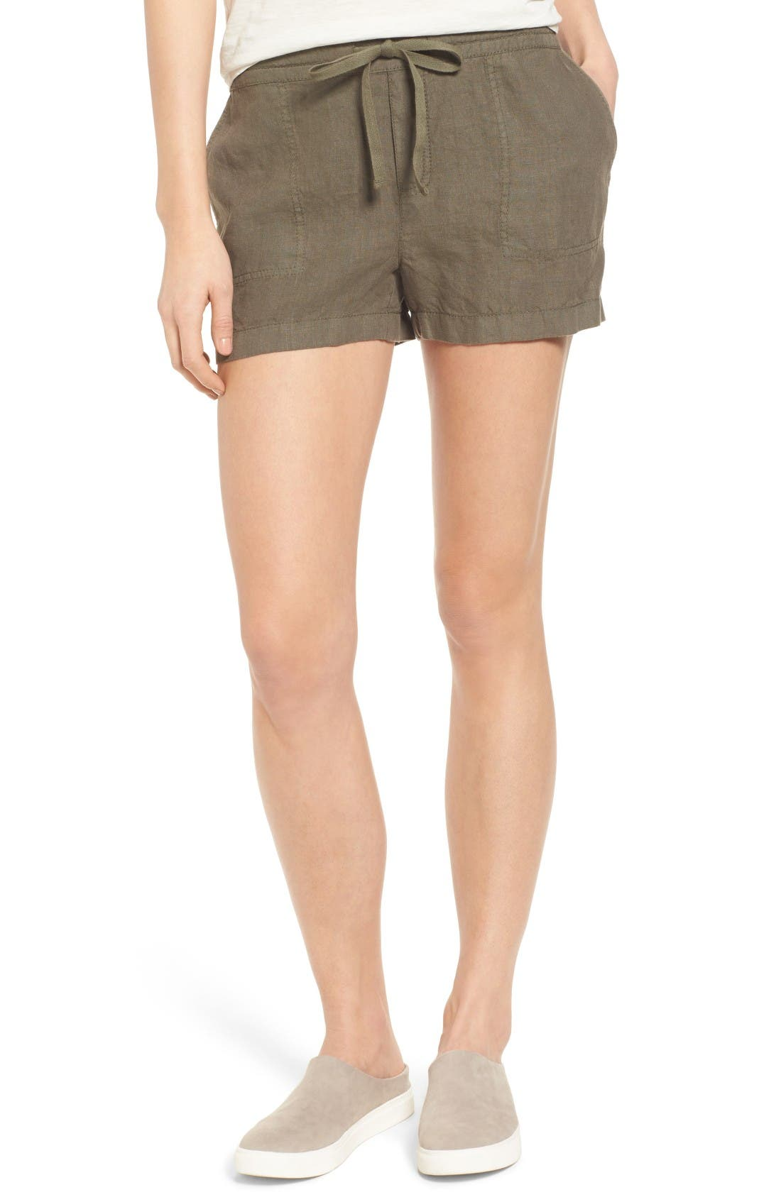 Caslon® Drawstring Linen Shorts (Regular & Petite)