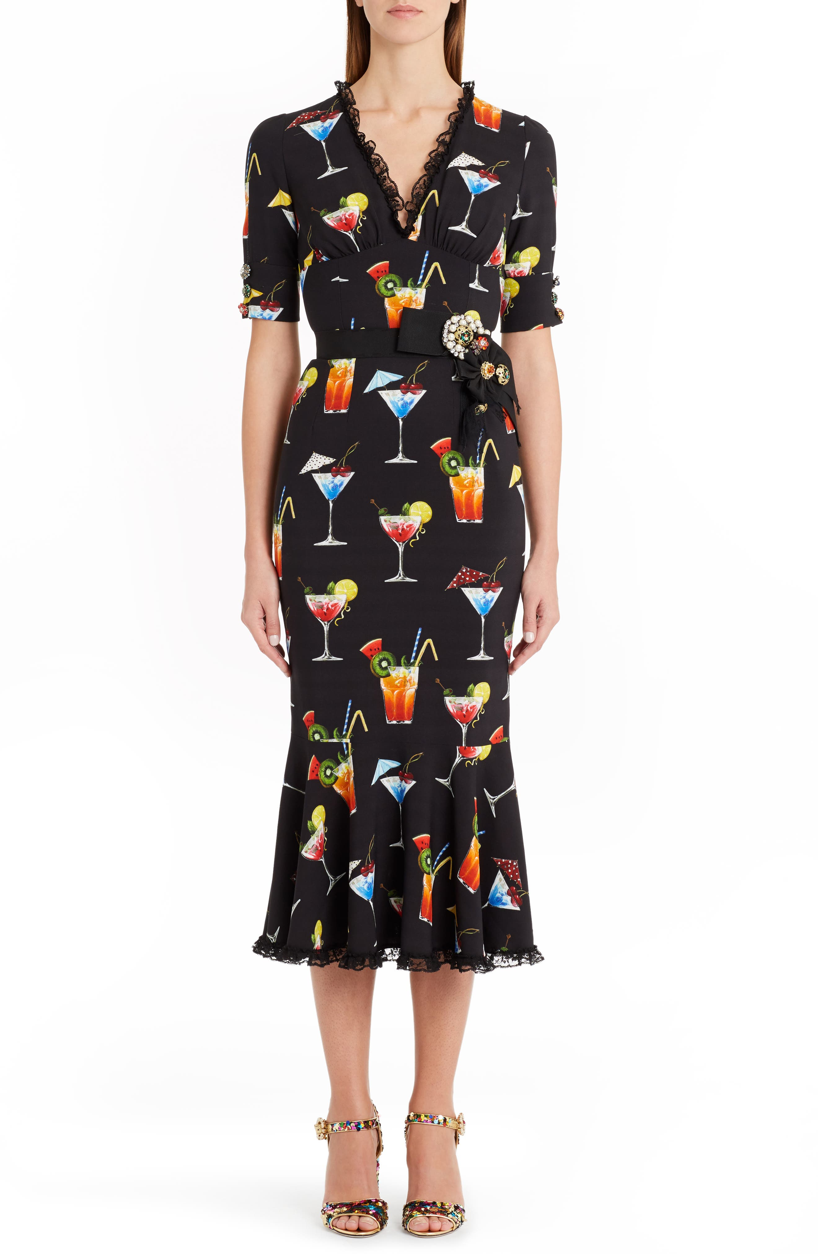 DOLCE&GABBANA Print Satin Cady Flounce Dress