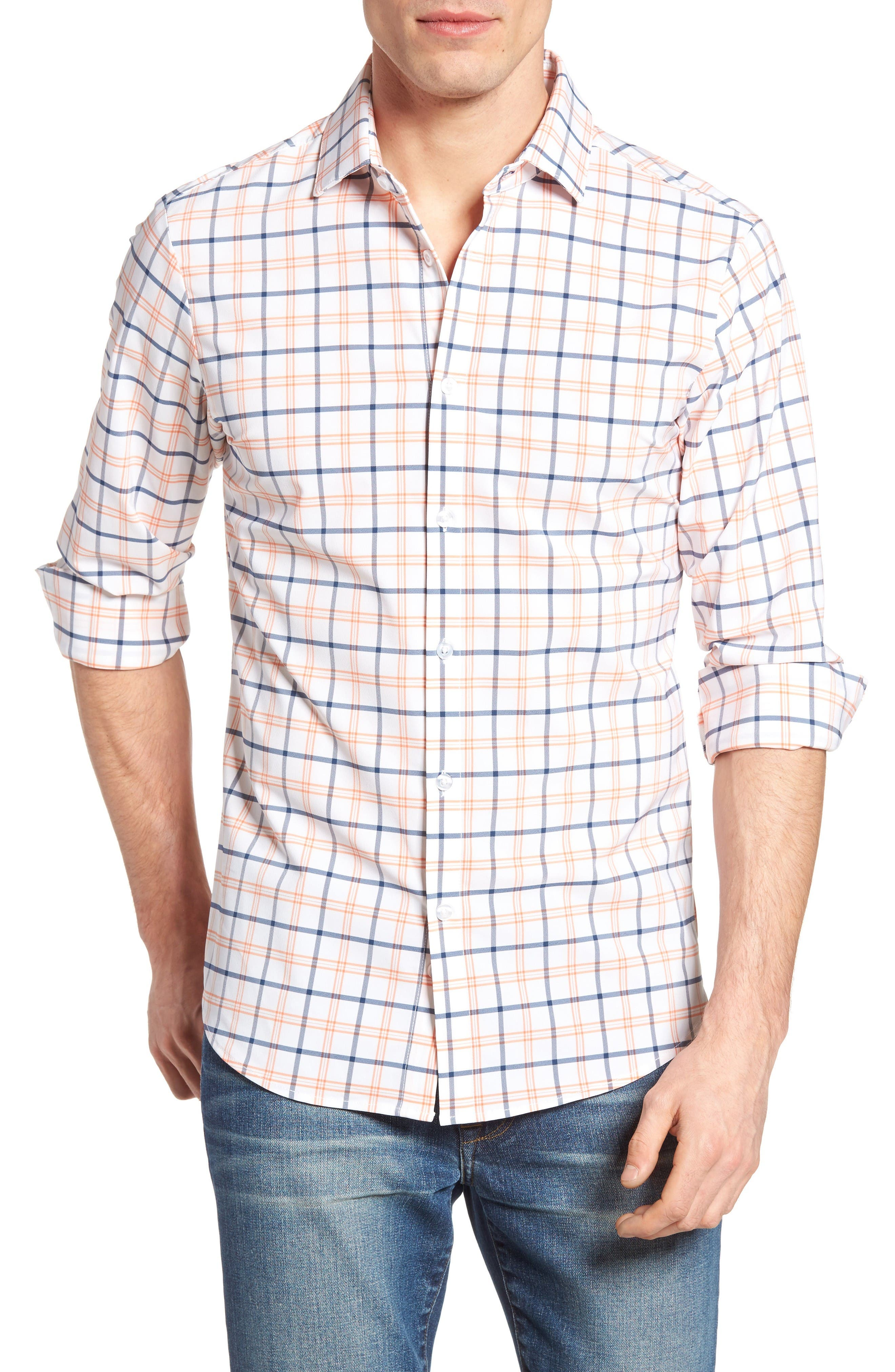Mizzen+Main Hudson Poseidon Plaid Performance Sport Shirt
