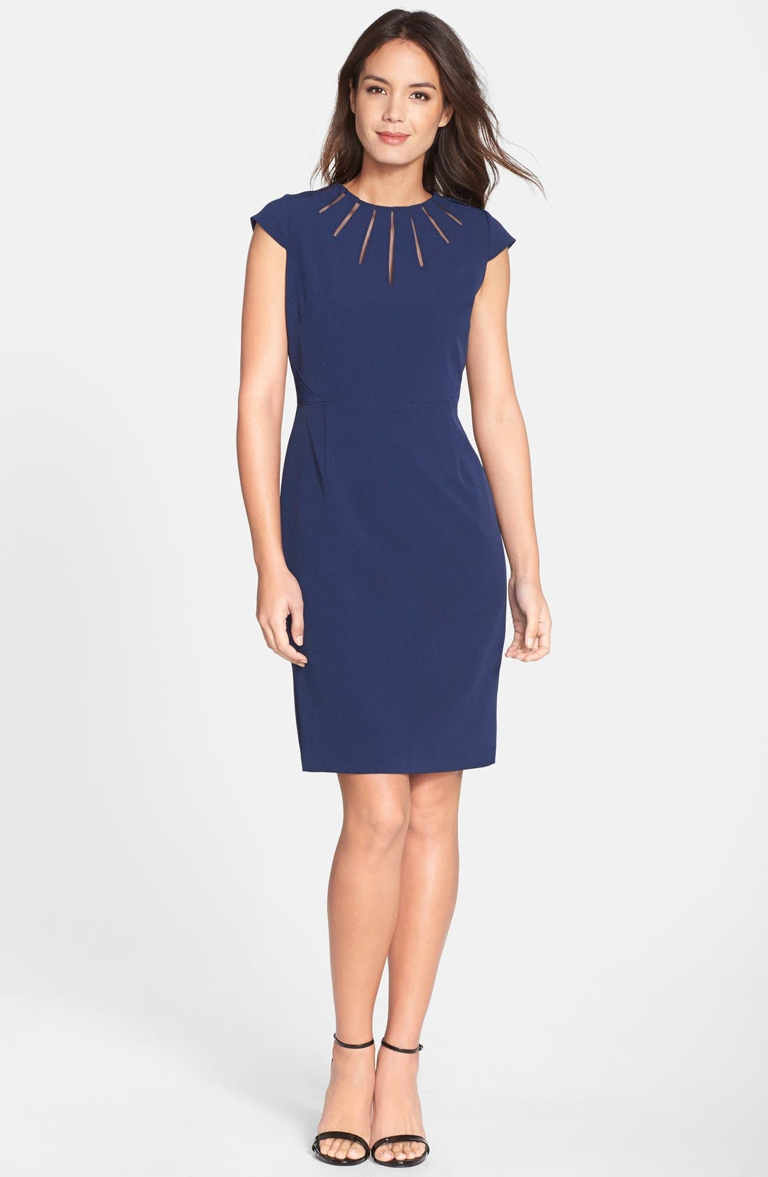 Alternate Image 3  - Adrianna Papell Cutout Neck Crepe Sheath Dress (Regular & Petite)