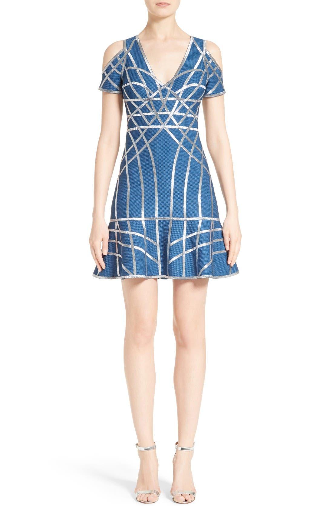 HERVE LEGER Foil Ribbon Cold Shoulder Dress