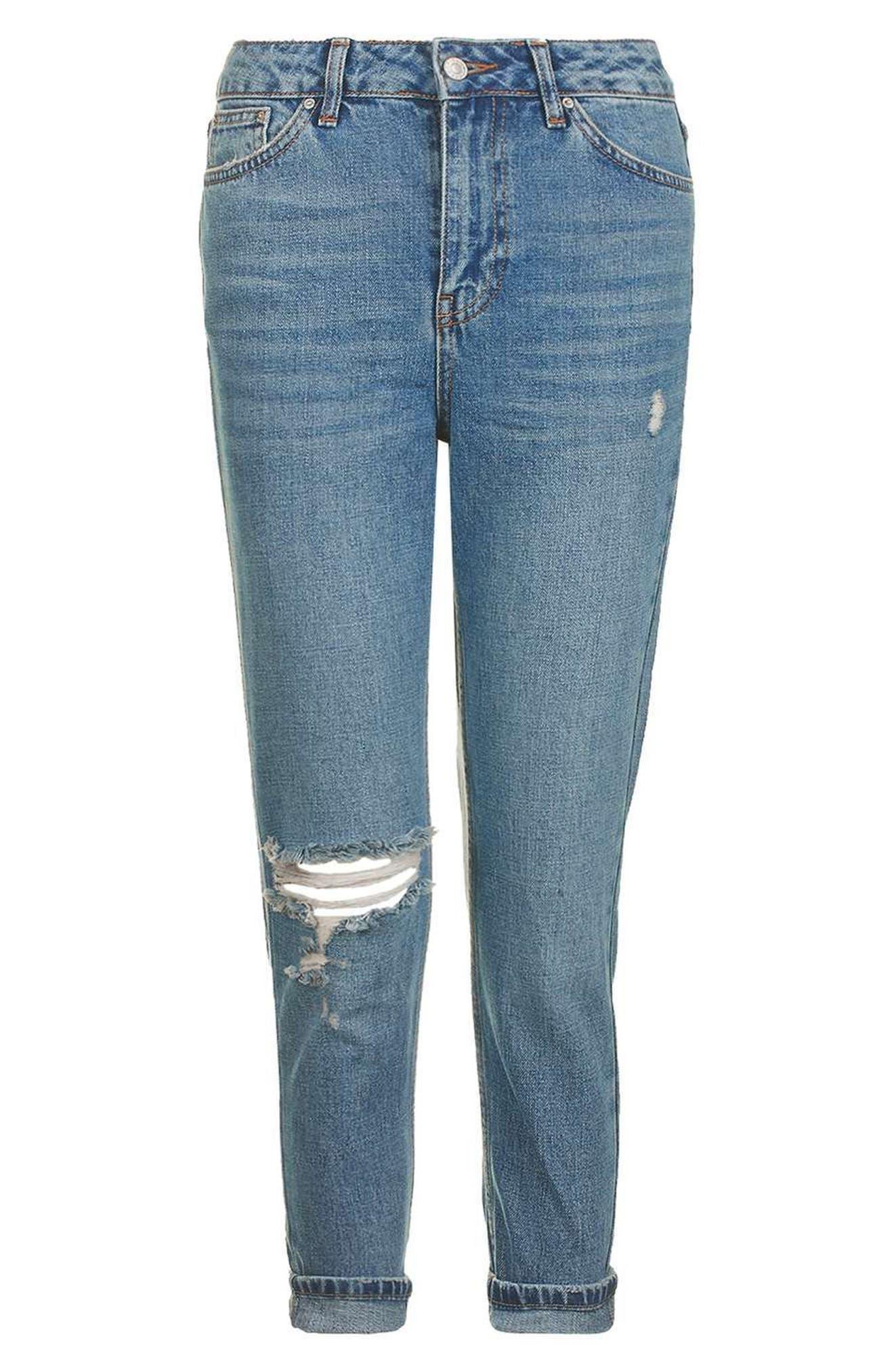 Alternate Image 4  - Topshop Ripped Mom Jeans (Petite)