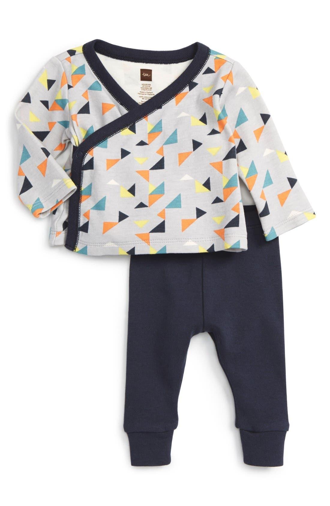 Tea Collection Archer Wrap Top & Sweatpants Set (Baby Boys)