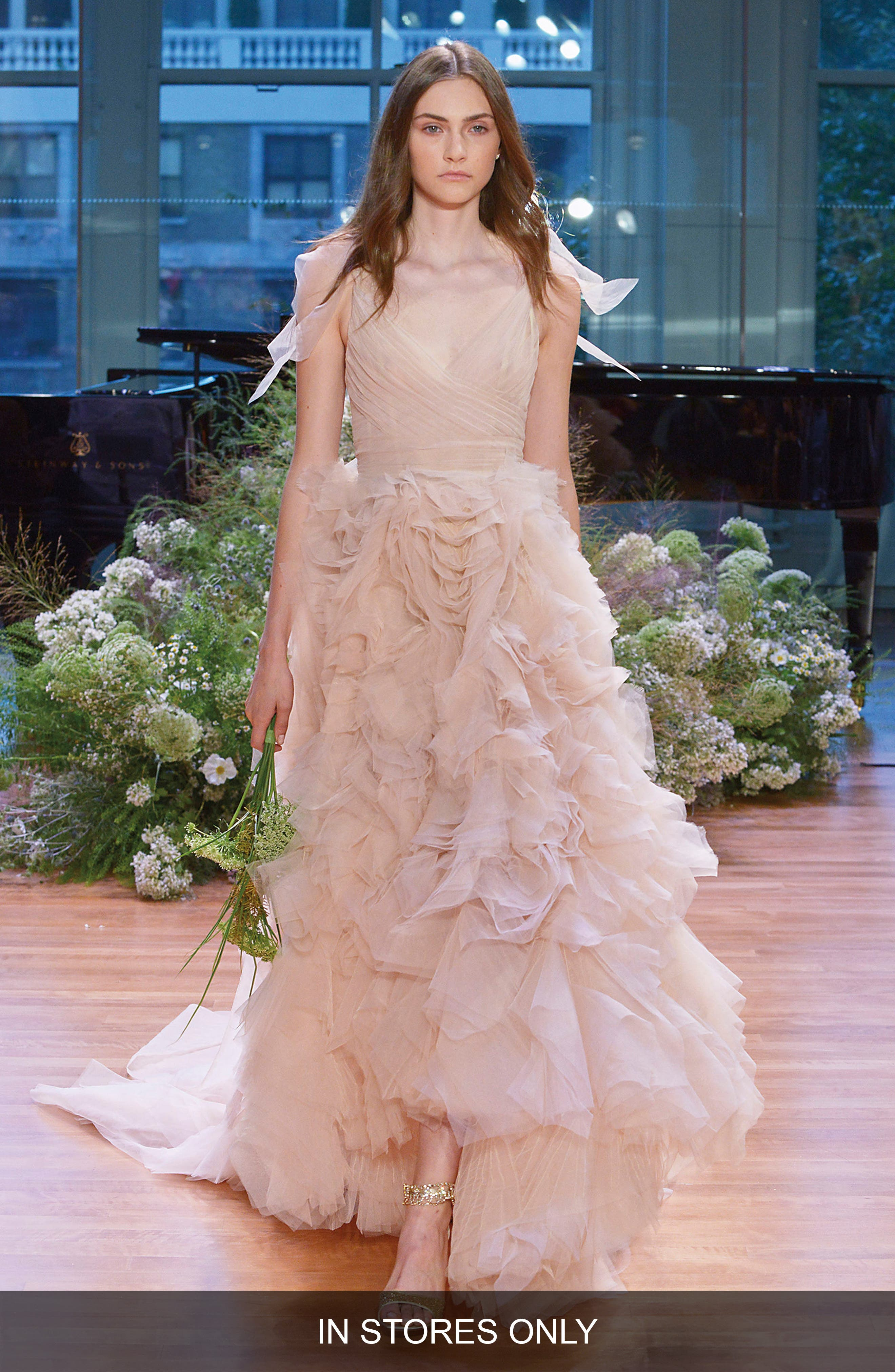 Monique Lhuillier Ballad Surplice Tulle & Organza High/Low Gown (In Stores Only)