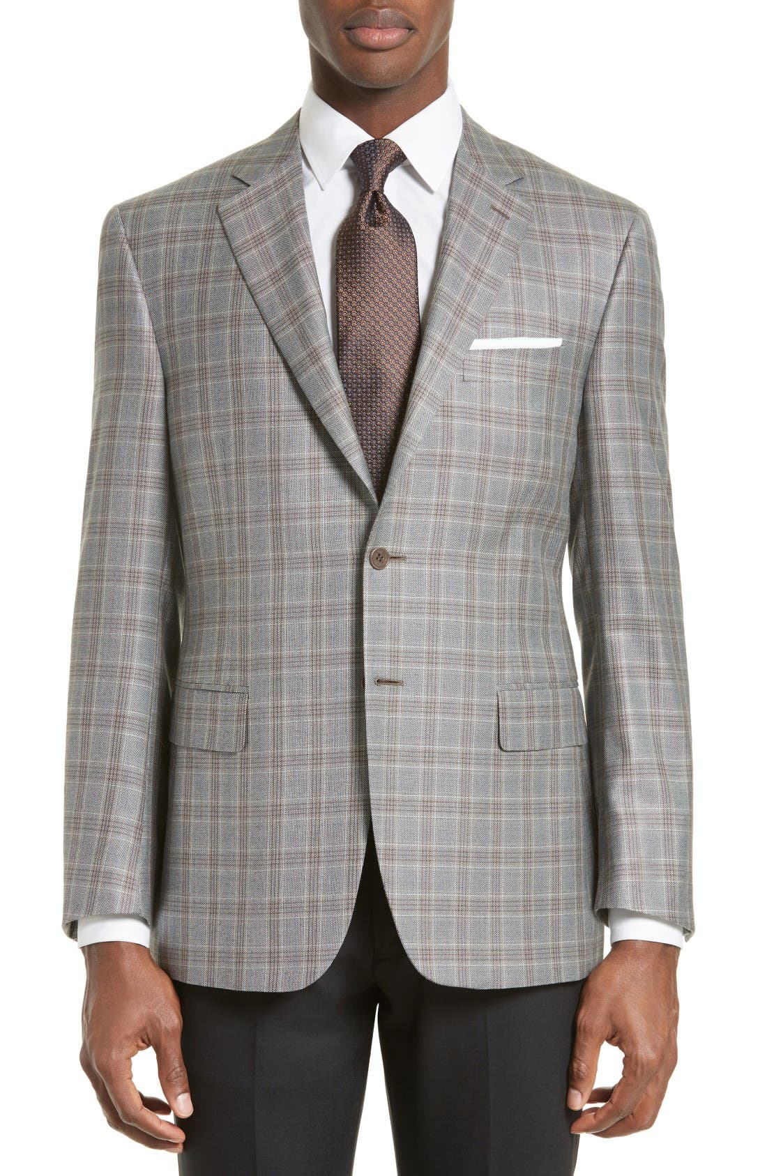 CANALI Classic Fit Plaid Silk & Wool Sport