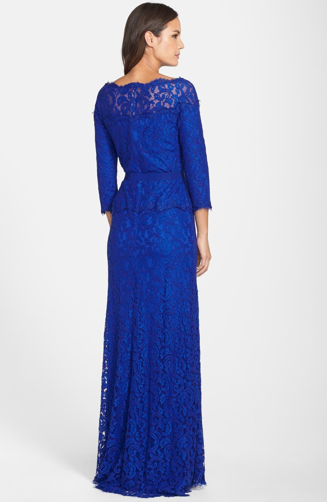 Alternate Image 2  - Tadashi Shoji Illusion Lace Gown (Regular & Petite)