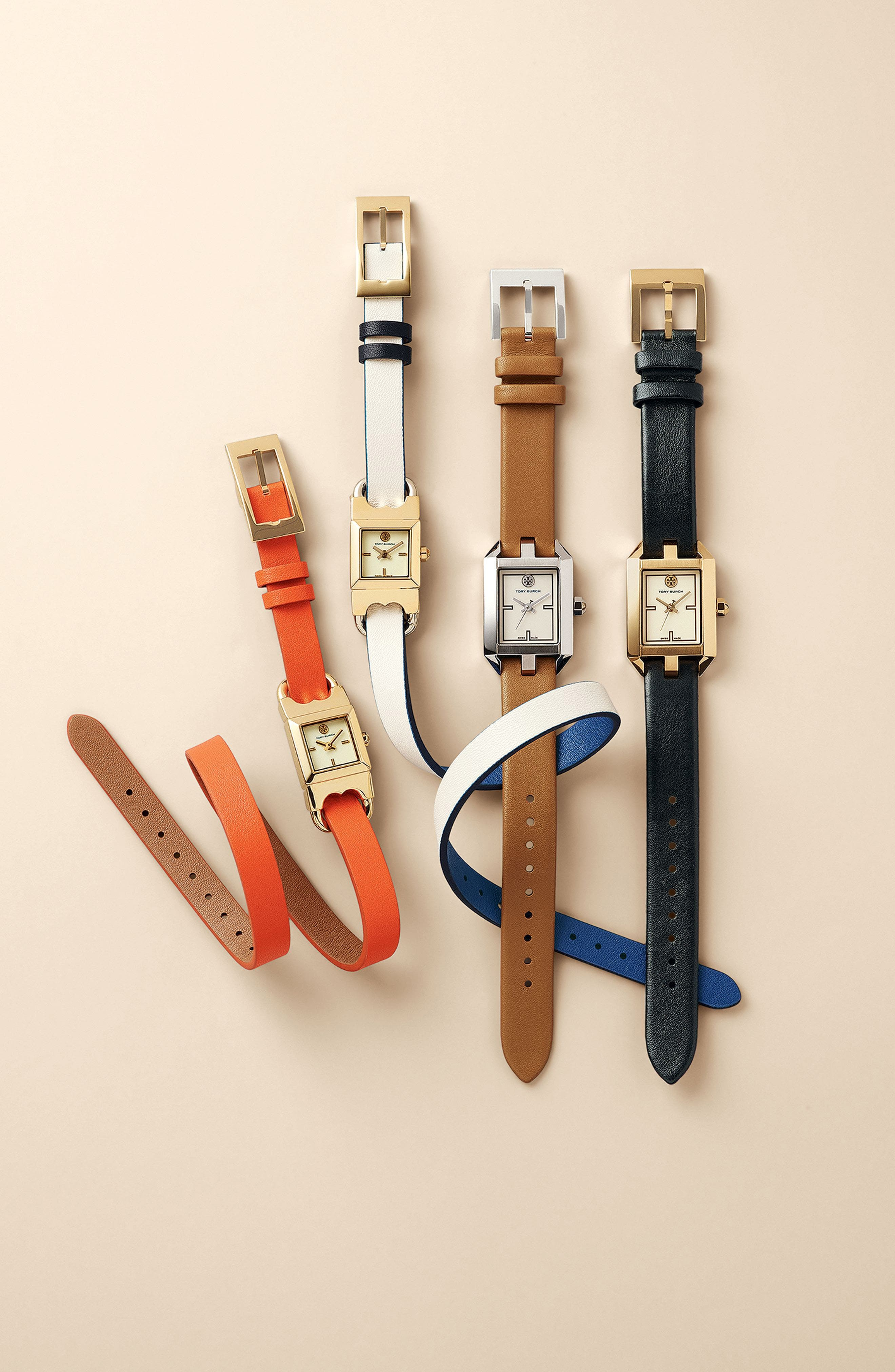 Alternate Image 4  - Tory Burch Dalloway Leather Strap Watch, 21mm x 24mm