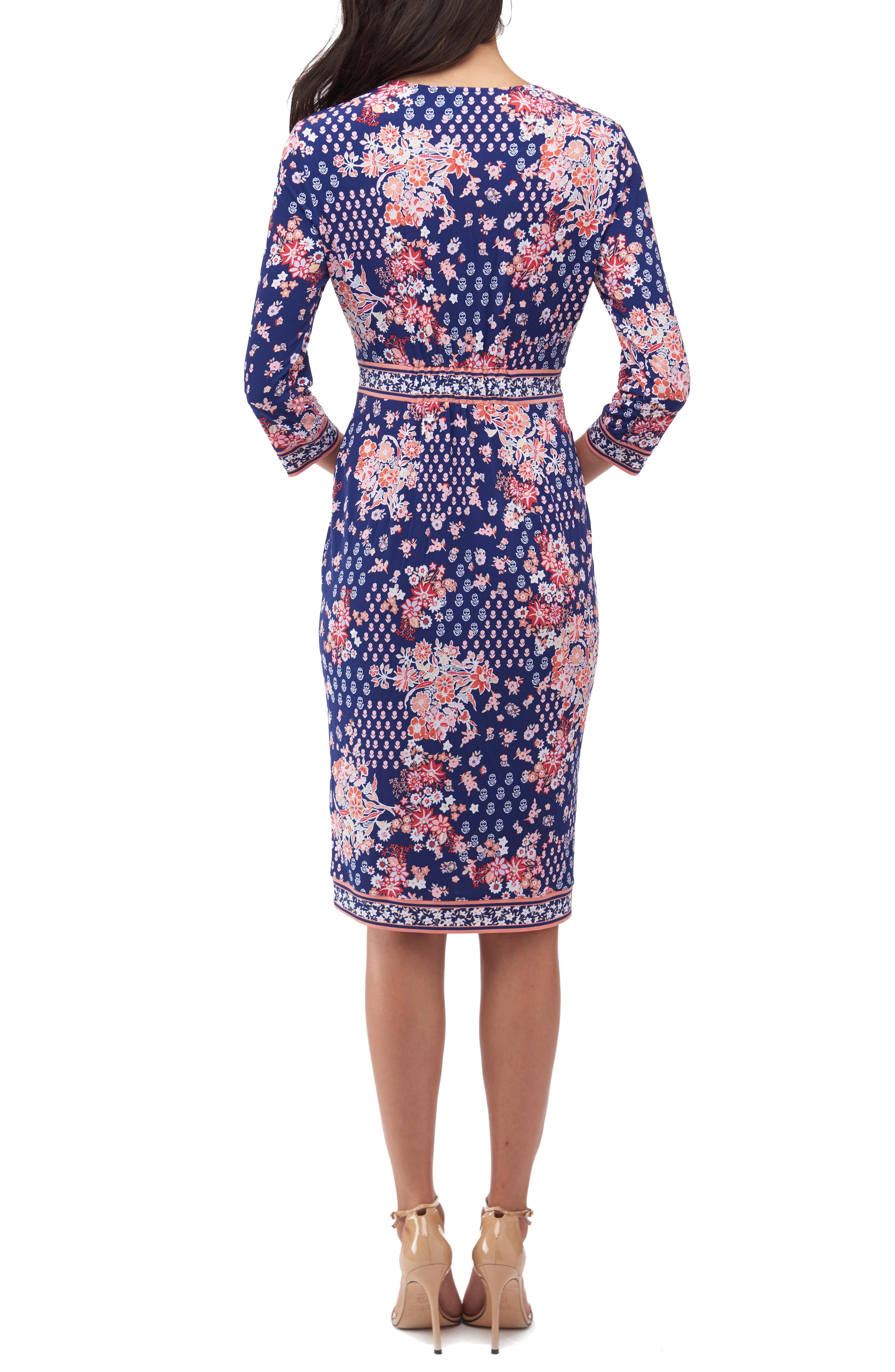Alternate Image 2  - ECI Floral Faux Wrap Dress