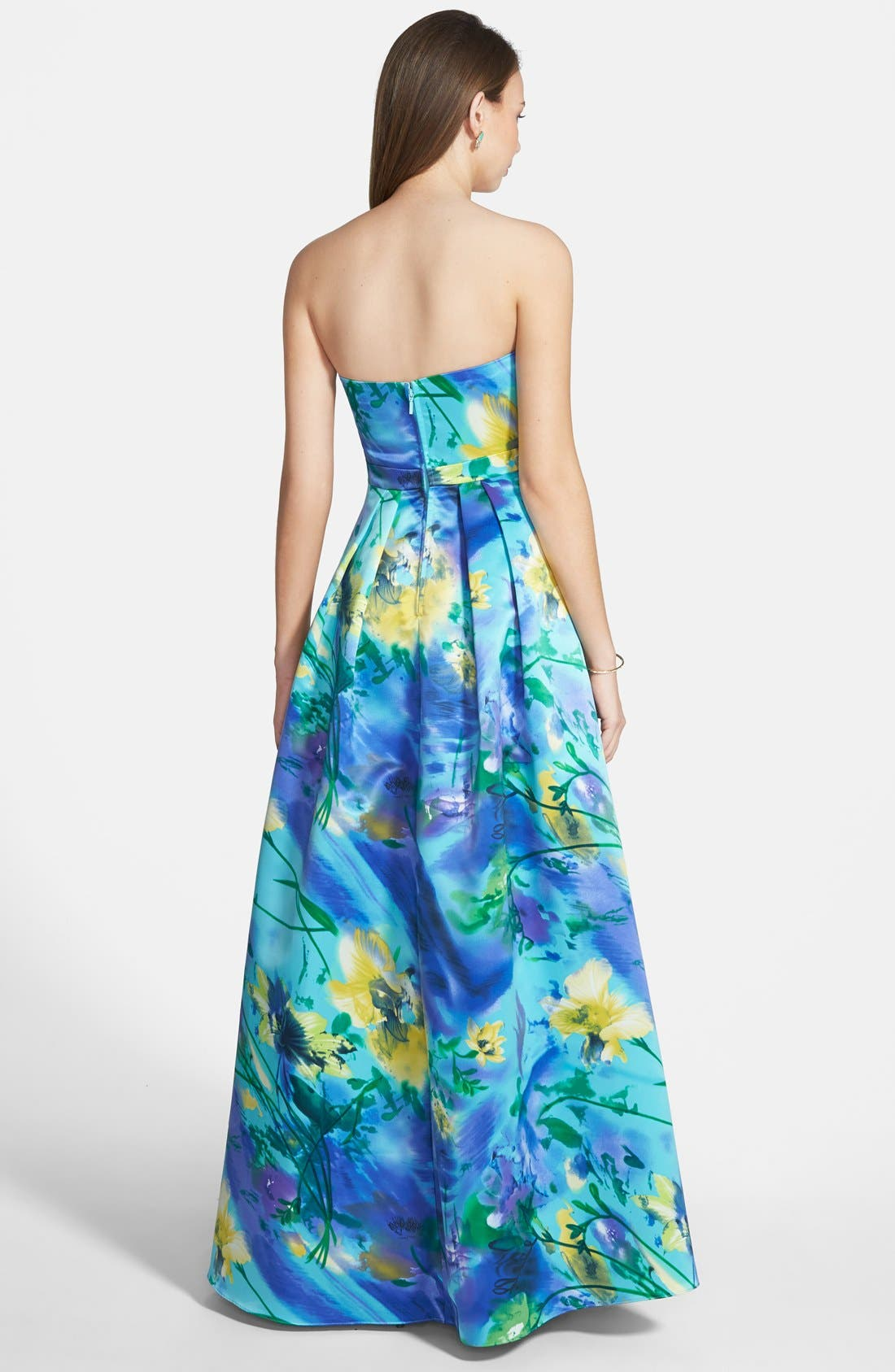 Alternate Image 2  - Hailey Logan Floral Print Strapless Gown (Juniors)