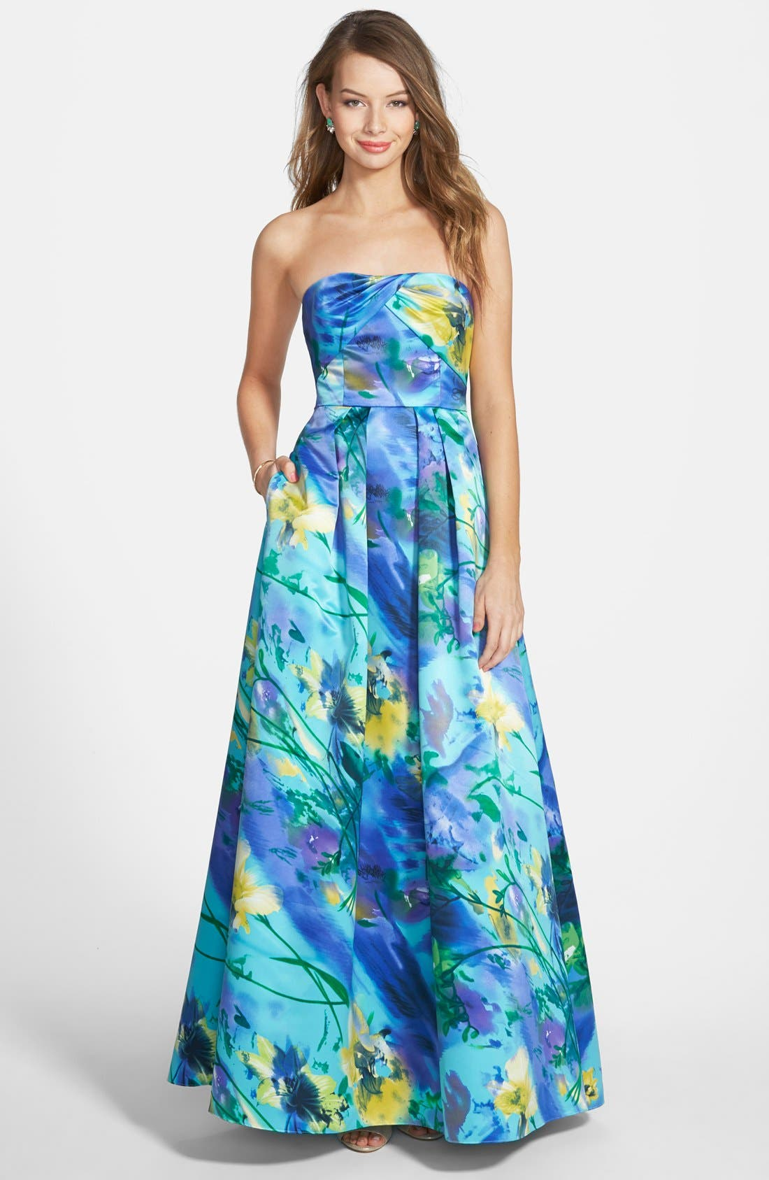 Main Image - Hailey Logan Floral Print Strapless Gown (Juniors)