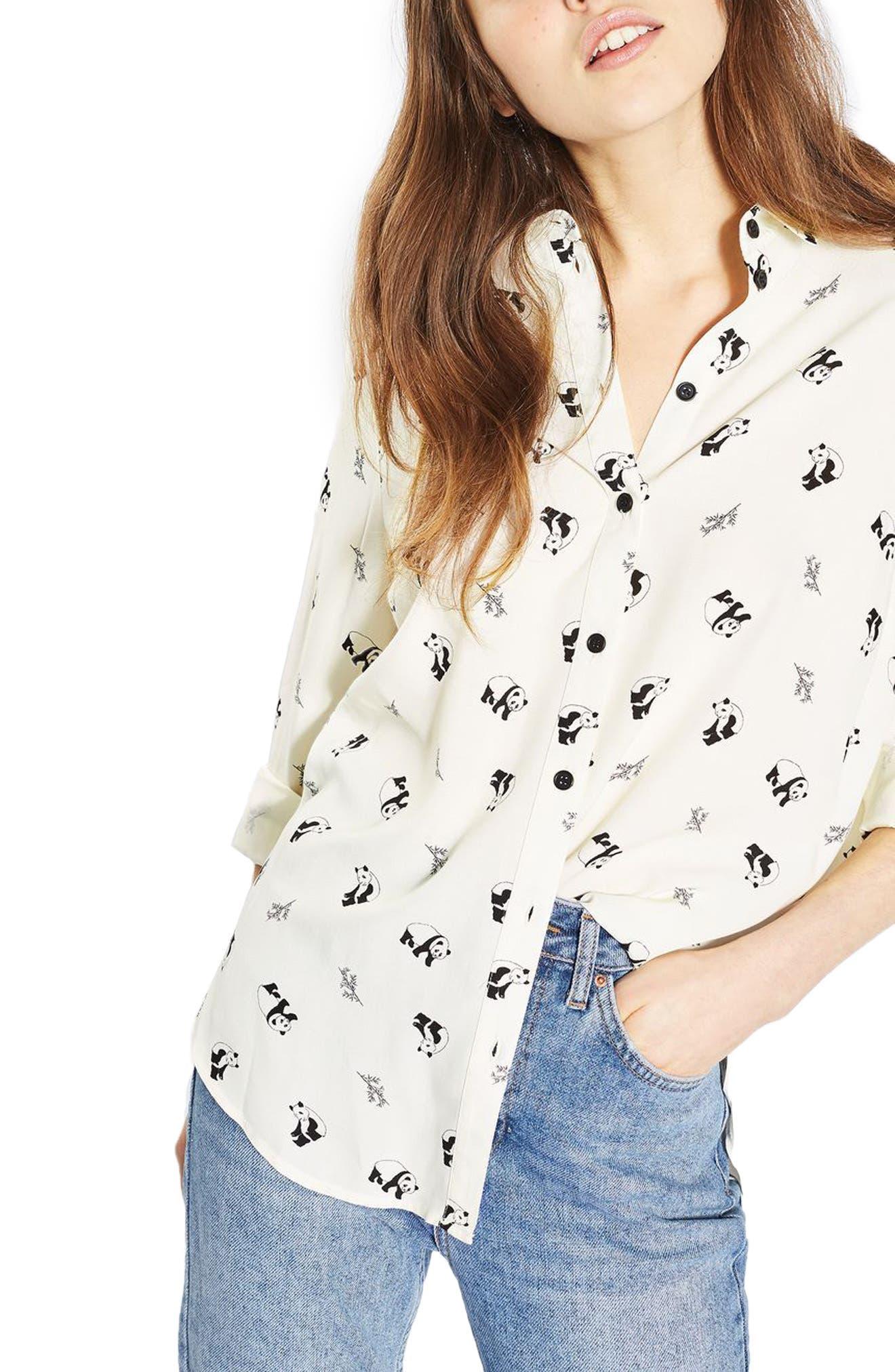 Main Image - Topshop Panda Shirt (Regular & Petite)