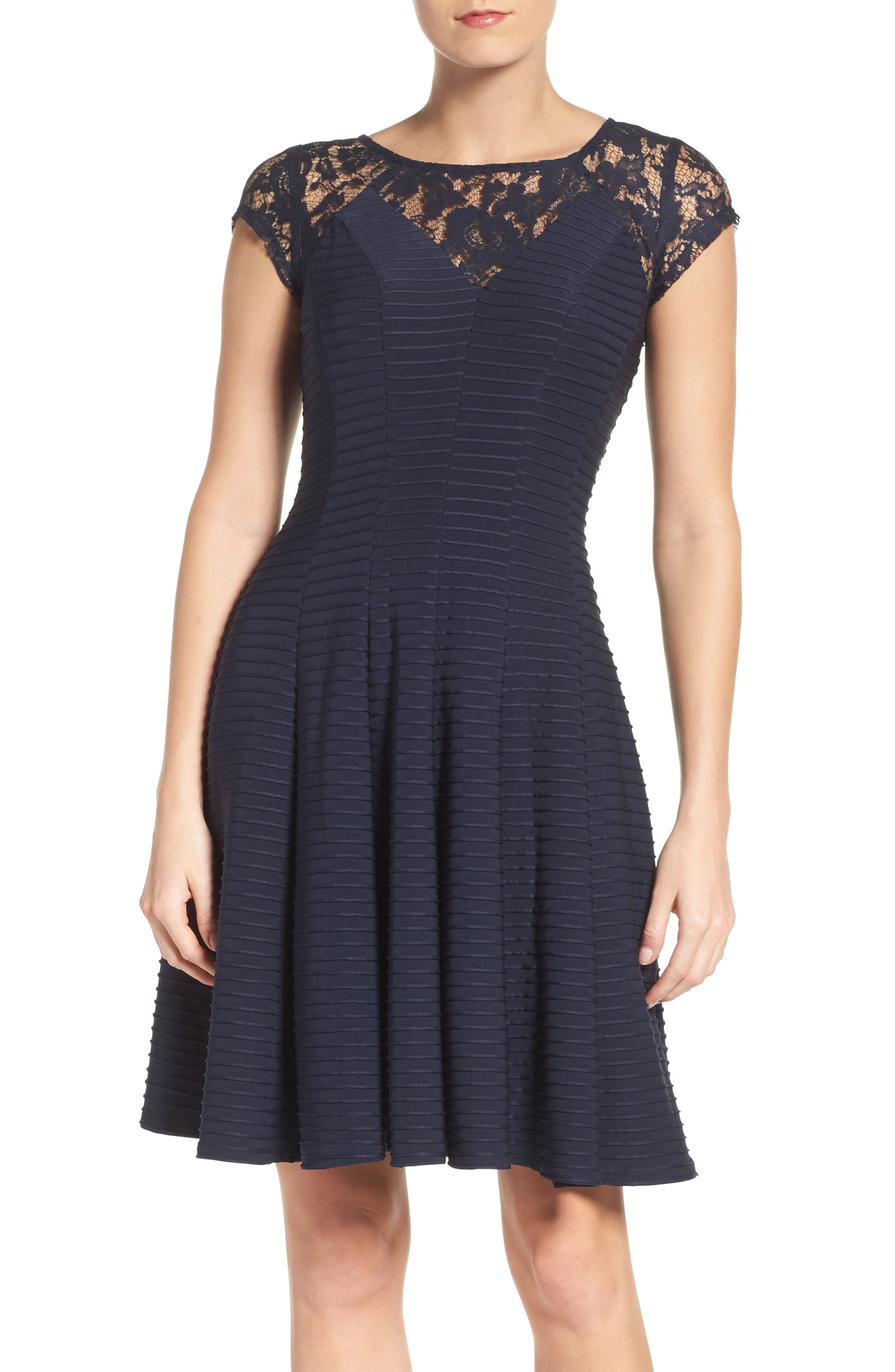 Gabby Skye Lace Fit & Flare Dress
